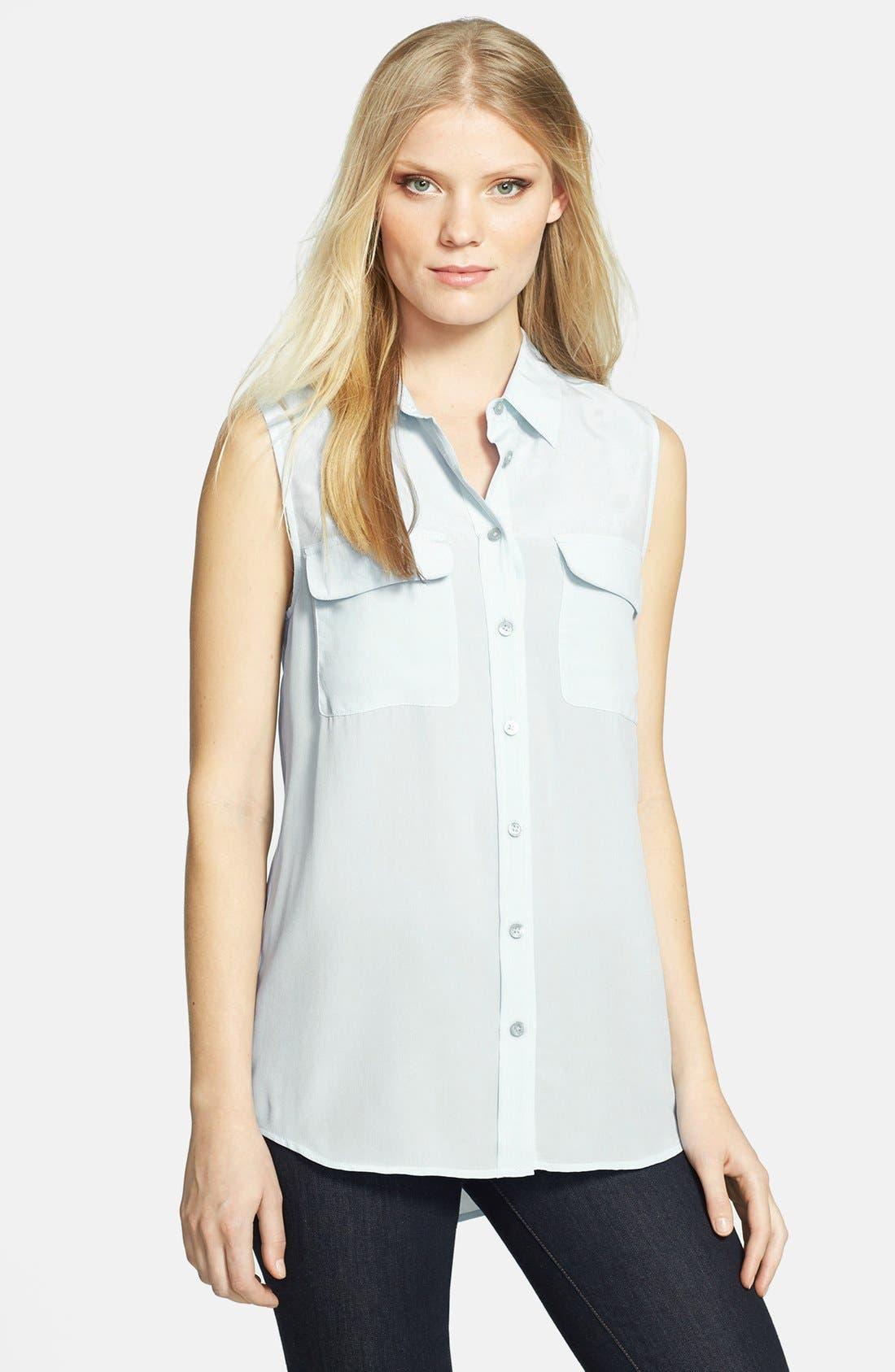 'Slim Signature' Sleeveless Silk Shirt,                             Main thumbnail 25, color,