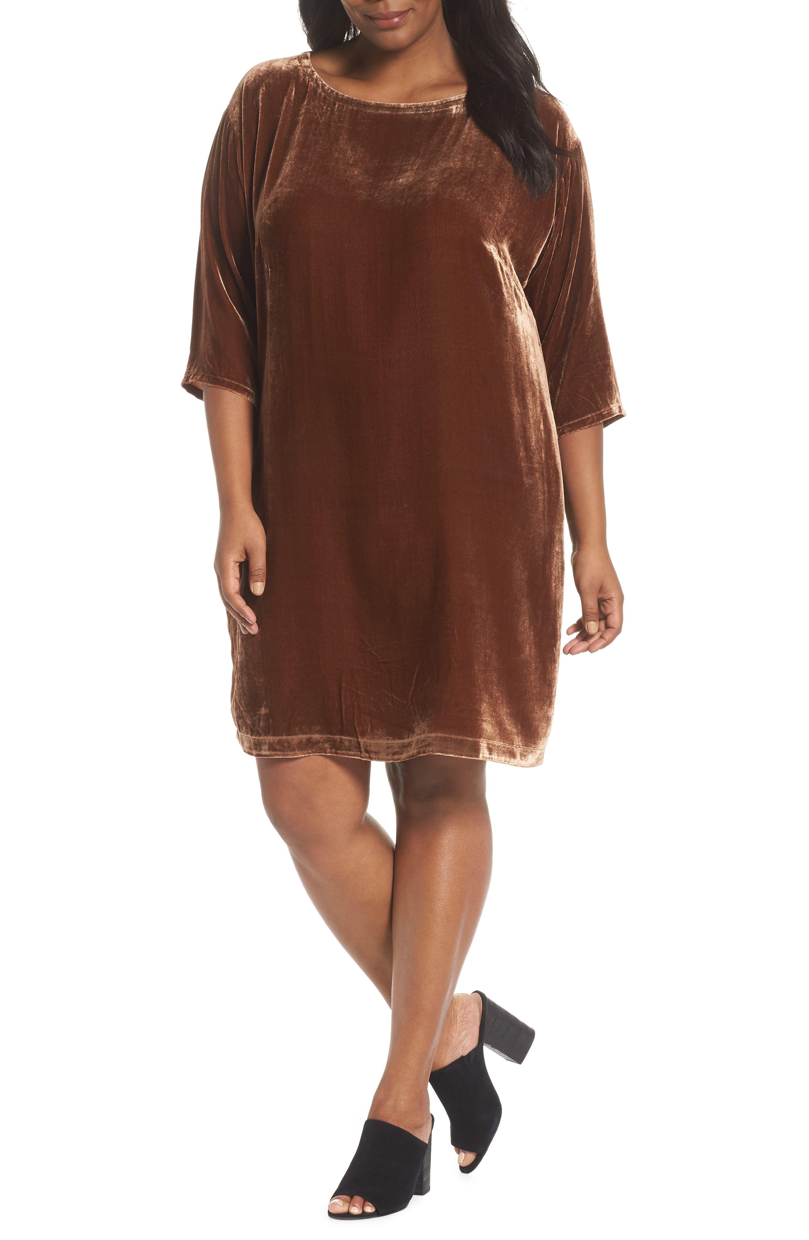 Velvet Shift Dress,                         Main,                         color, NUTMEG
