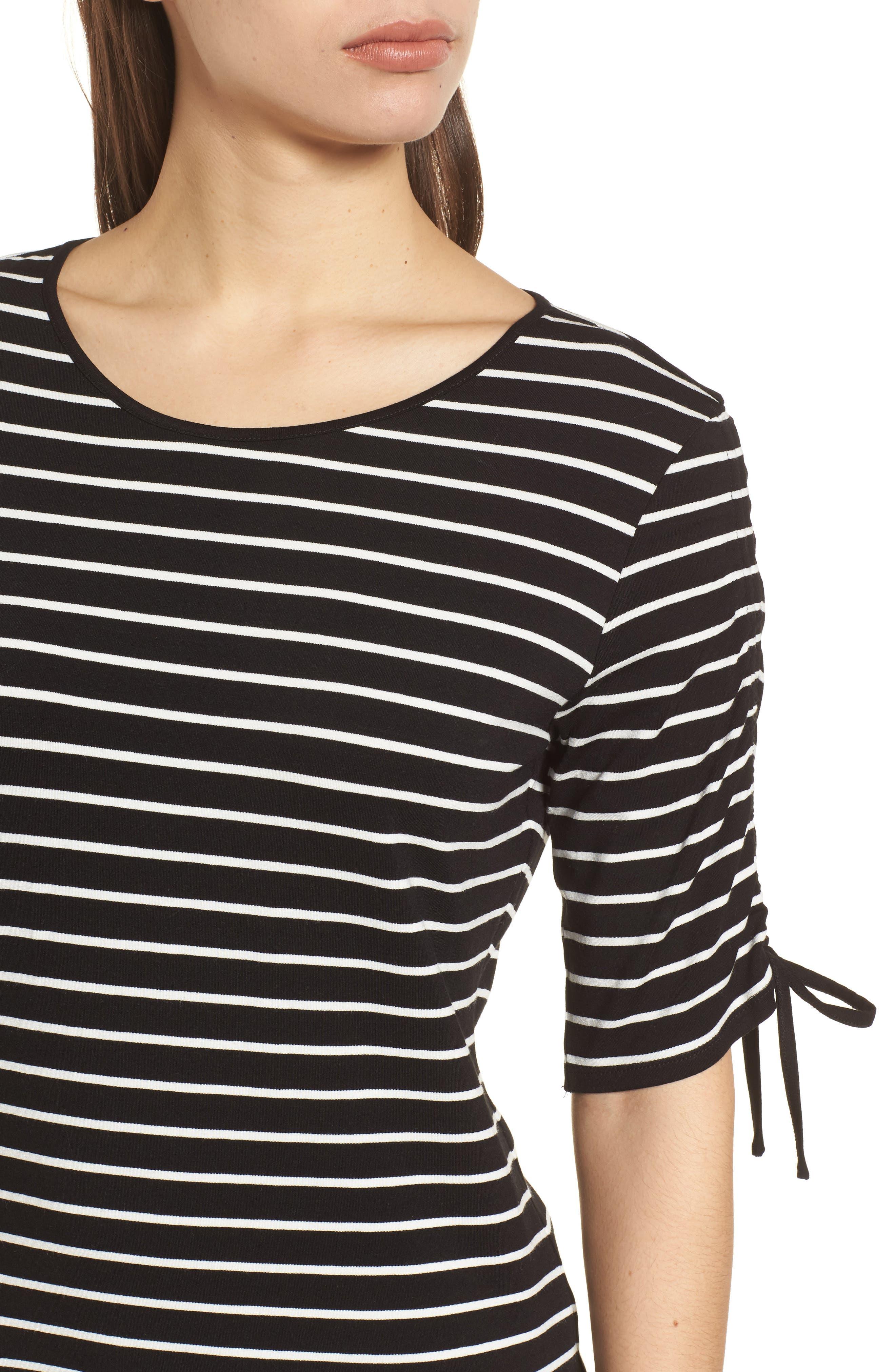 Drawstring Sleeve Stripe Top,                             Alternate thumbnail 4, color,                             006