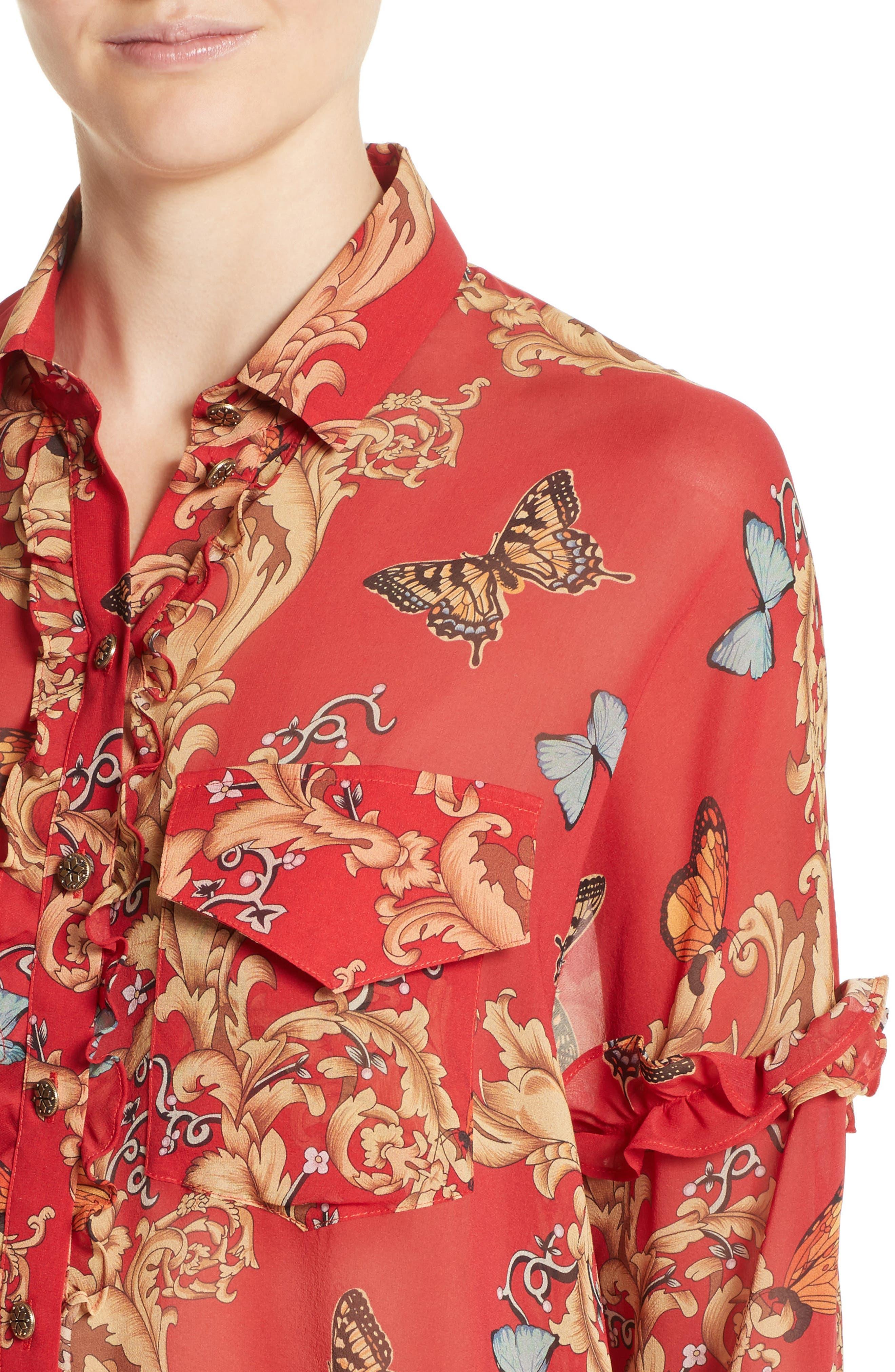 Print Ruffled Silk Shirt,                             Alternate thumbnail 4, color,                             600