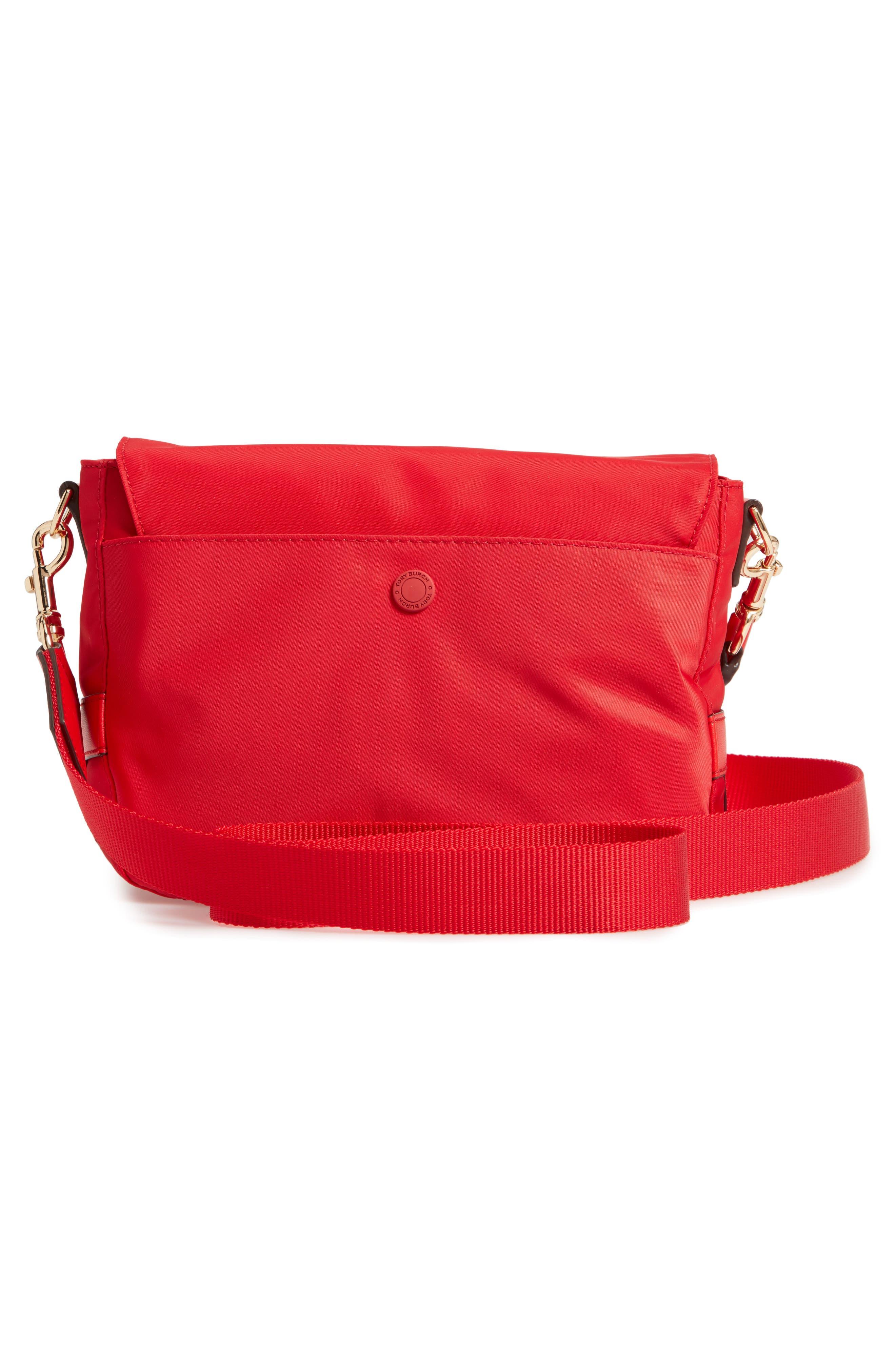 Tilda Nylon Crossbody Bag,                             Alternate thumbnail 4, color,                             BRILLIANT RED
