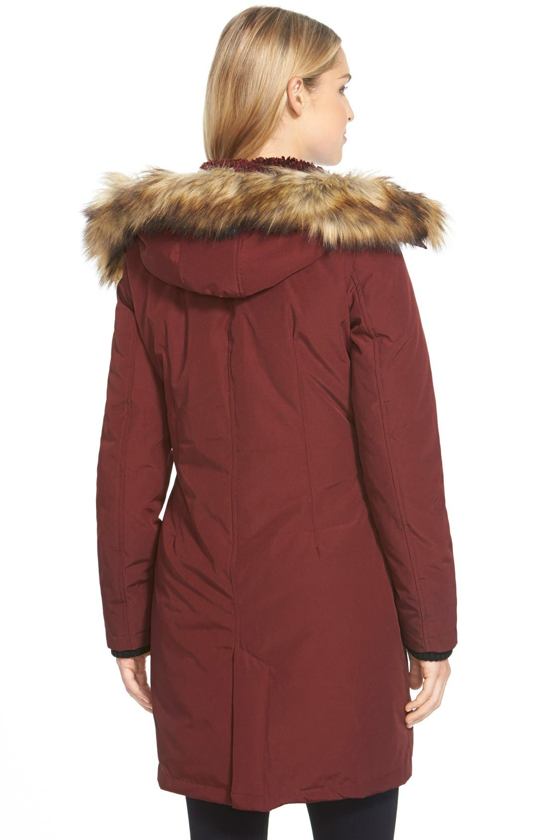 Down & Feather Fill Parka with Faux Fur Trim,                             Alternate thumbnail 23, color,