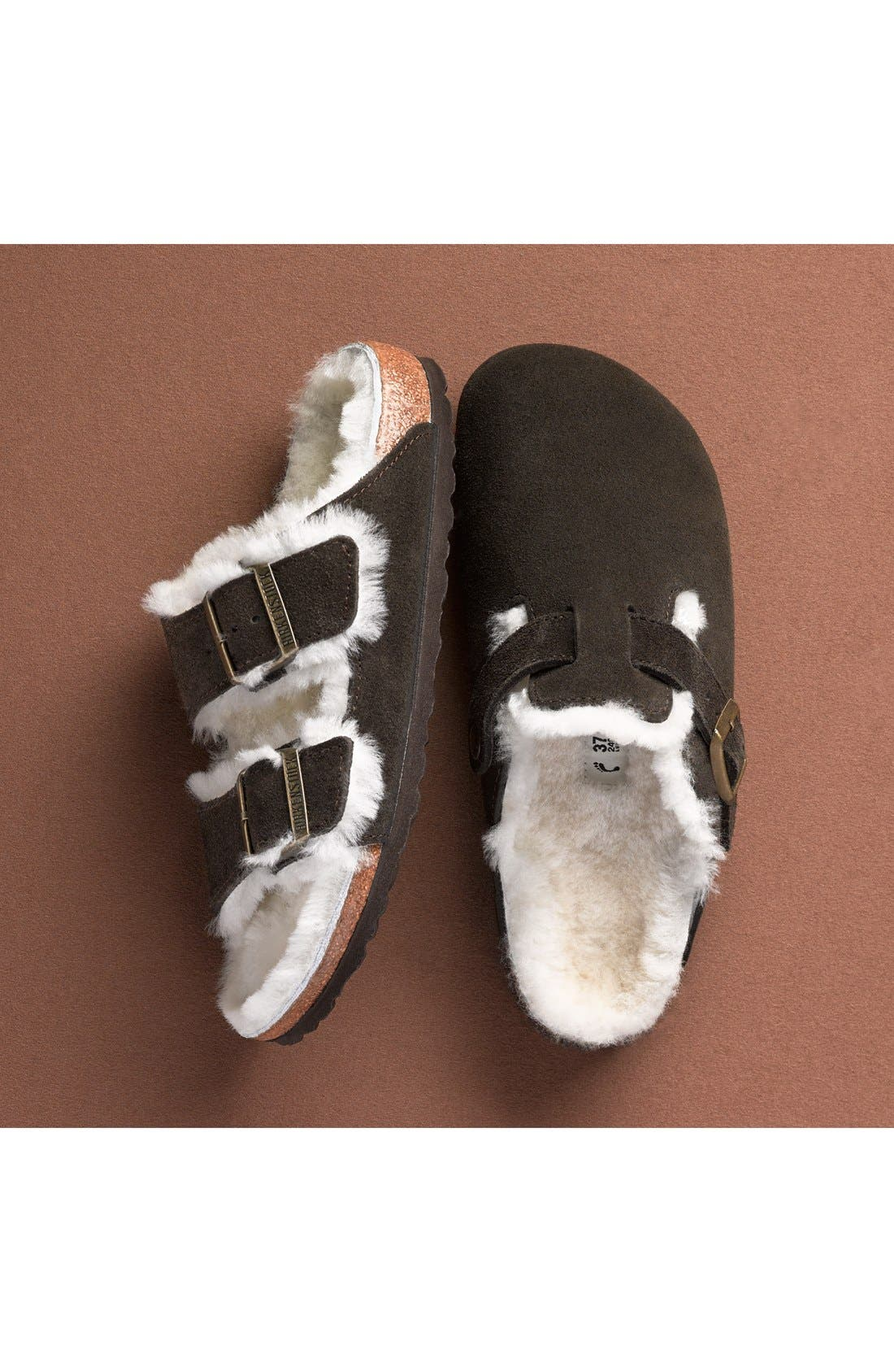 'Boston' Genuine Shearling Lined Clog,                             Alternate thumbnail 9, color,                             FOREST/ NATURAL SUEDE