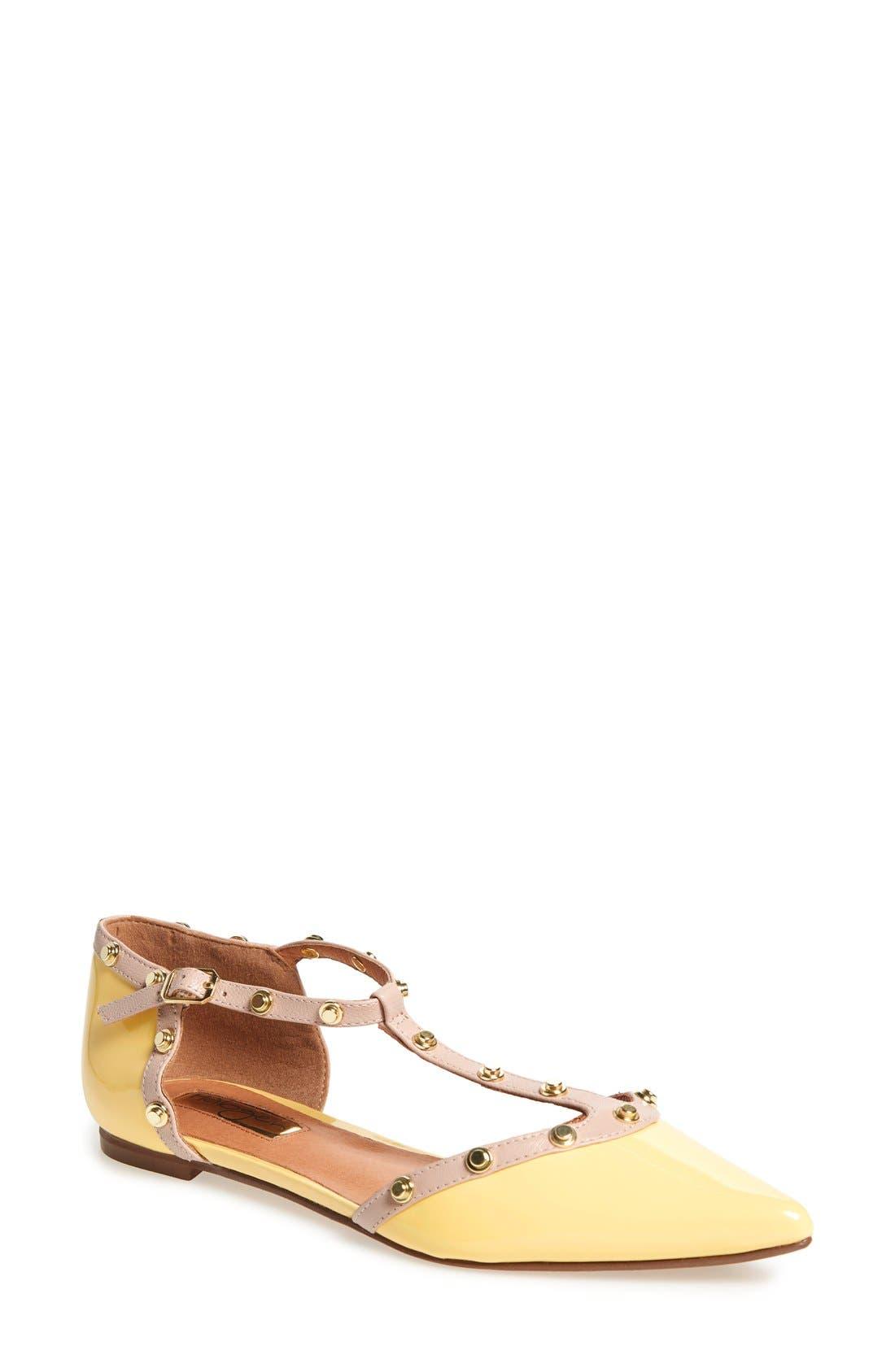 'Olson' Pointy Toe Studded T-Strap Flat,                             Main thumbnail 16, color,
