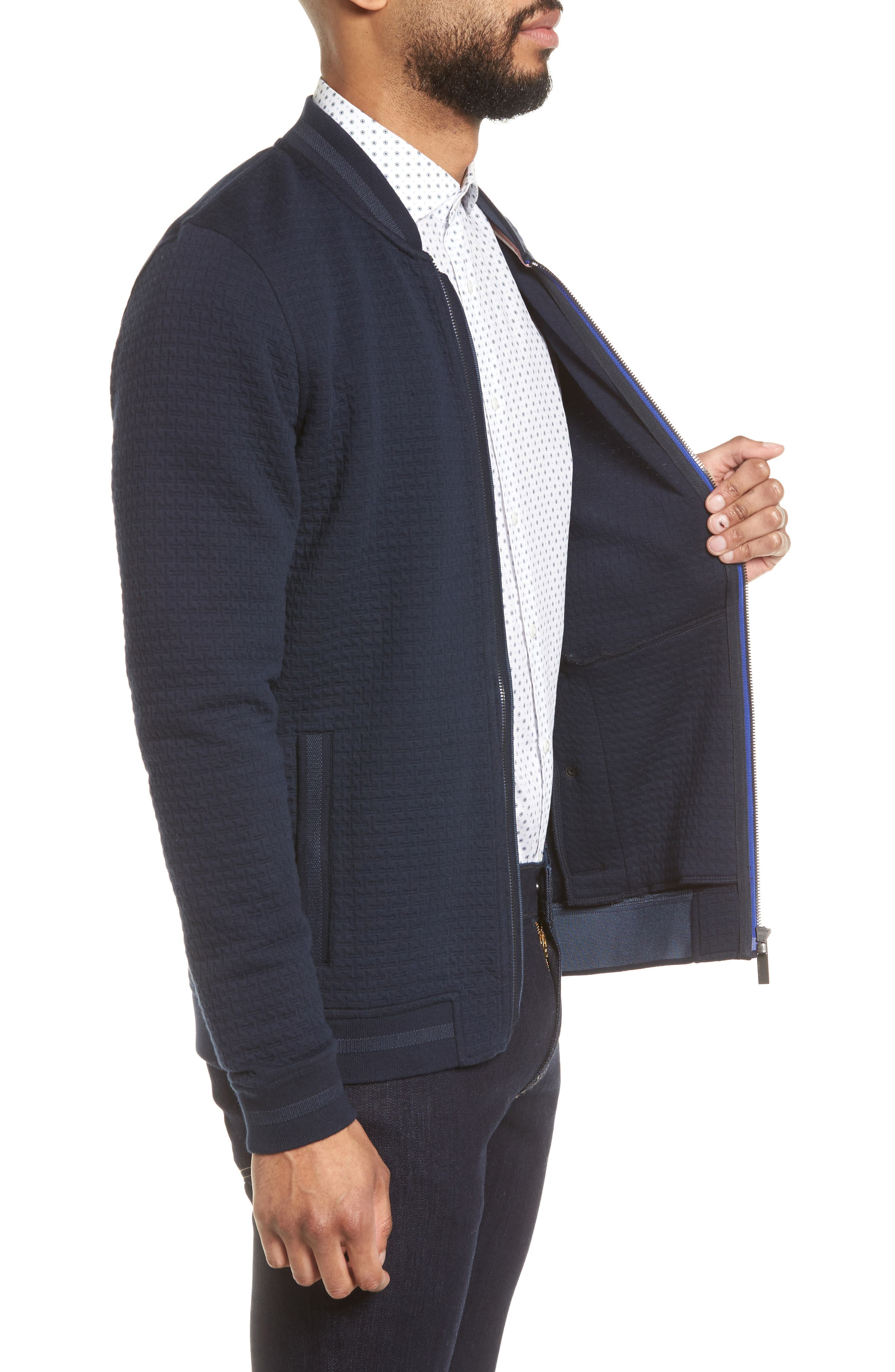 Akitaa Quilted Jacquard Bomber Jacket,                             Alternate thumbnail 3, color,                             410