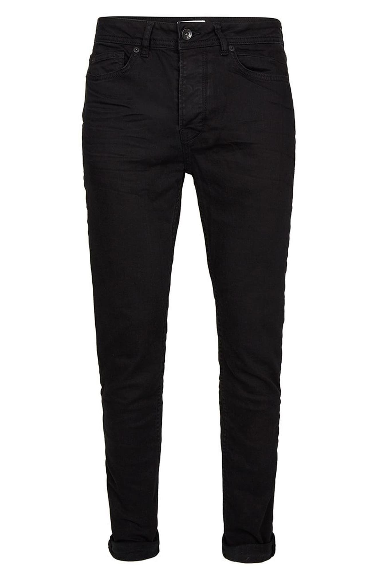 TOPMAN,                             Overdyed Stretch Skinny Jeans,                             Alternate thumbnail 4, color,                             001
