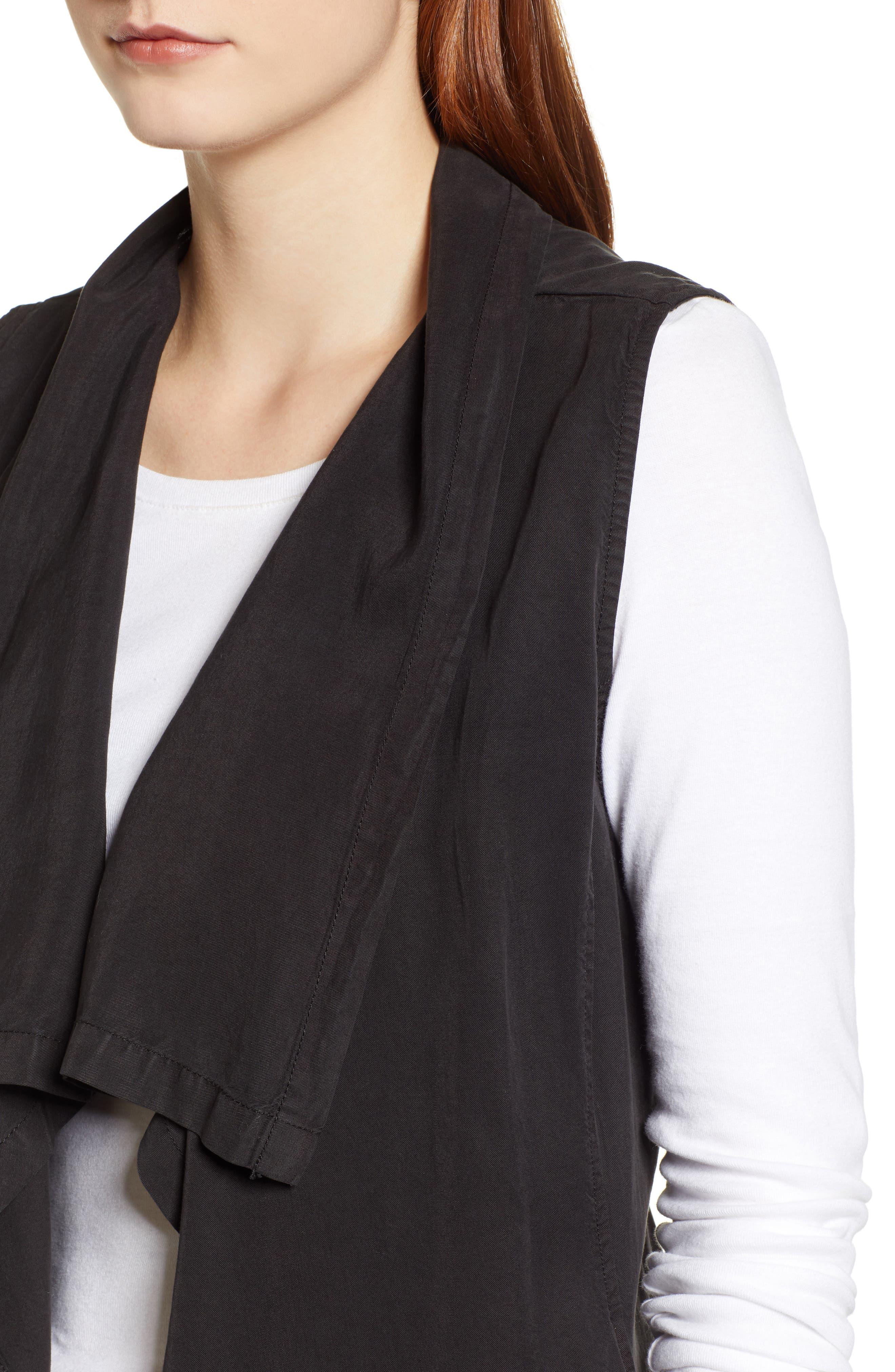 Drape Front Vest,                             Alternate thumbnail 4, color,                             BLACK SOOT
