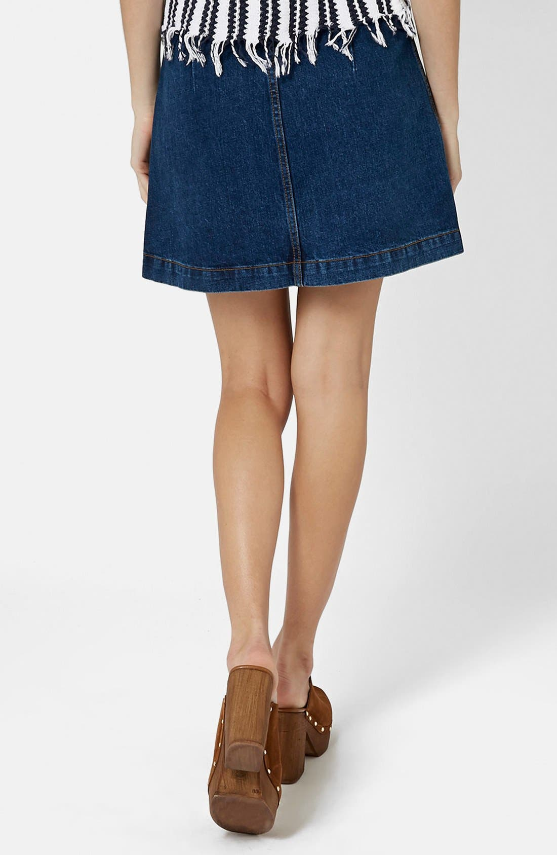 Moto Button Front Denim Miniskirt,                             Alternate thumbnail 3, color,                             400
