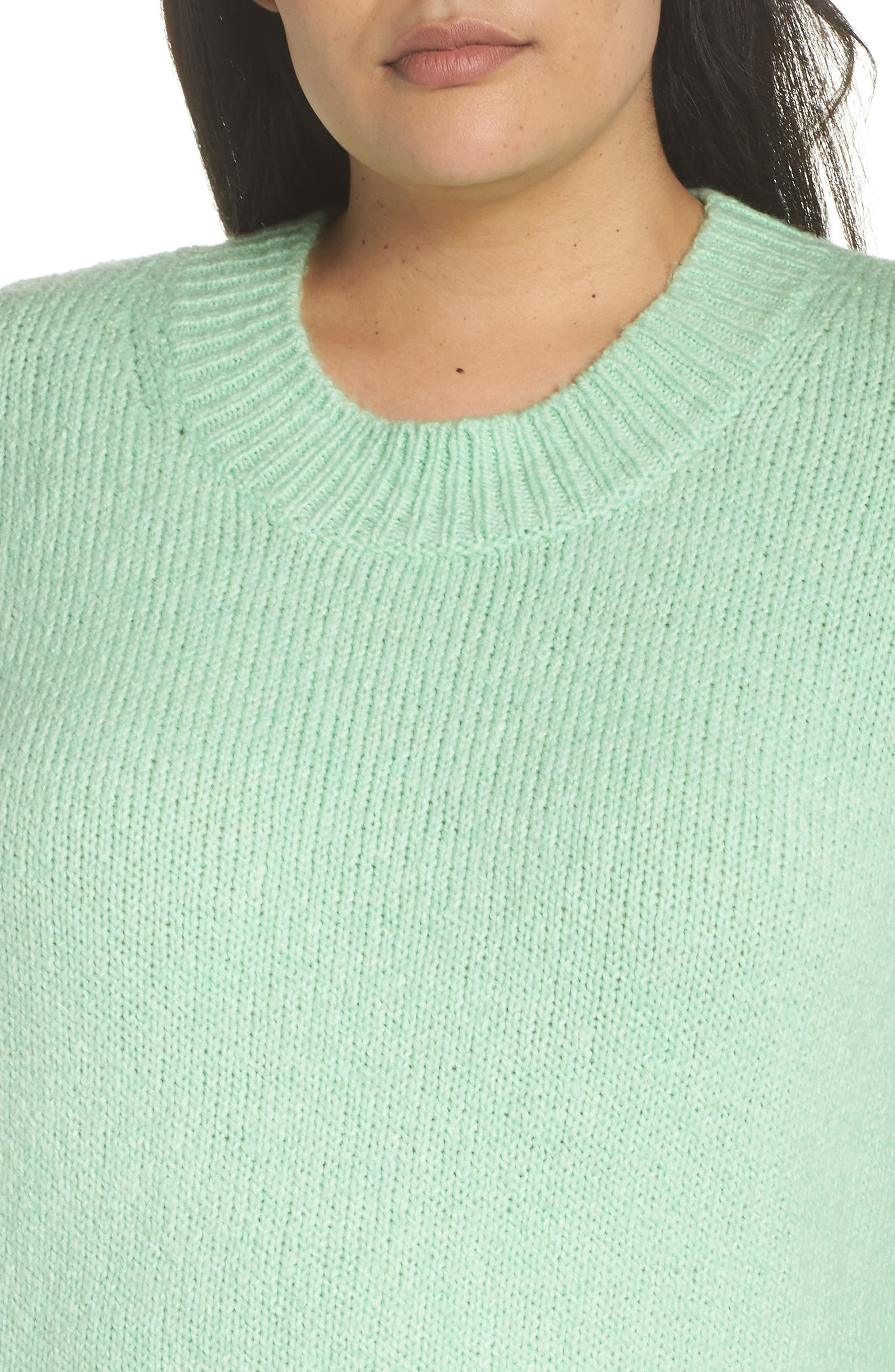 High-Low Sweater,                             Alternate thumbnail 4, color,                             GREEN ASH