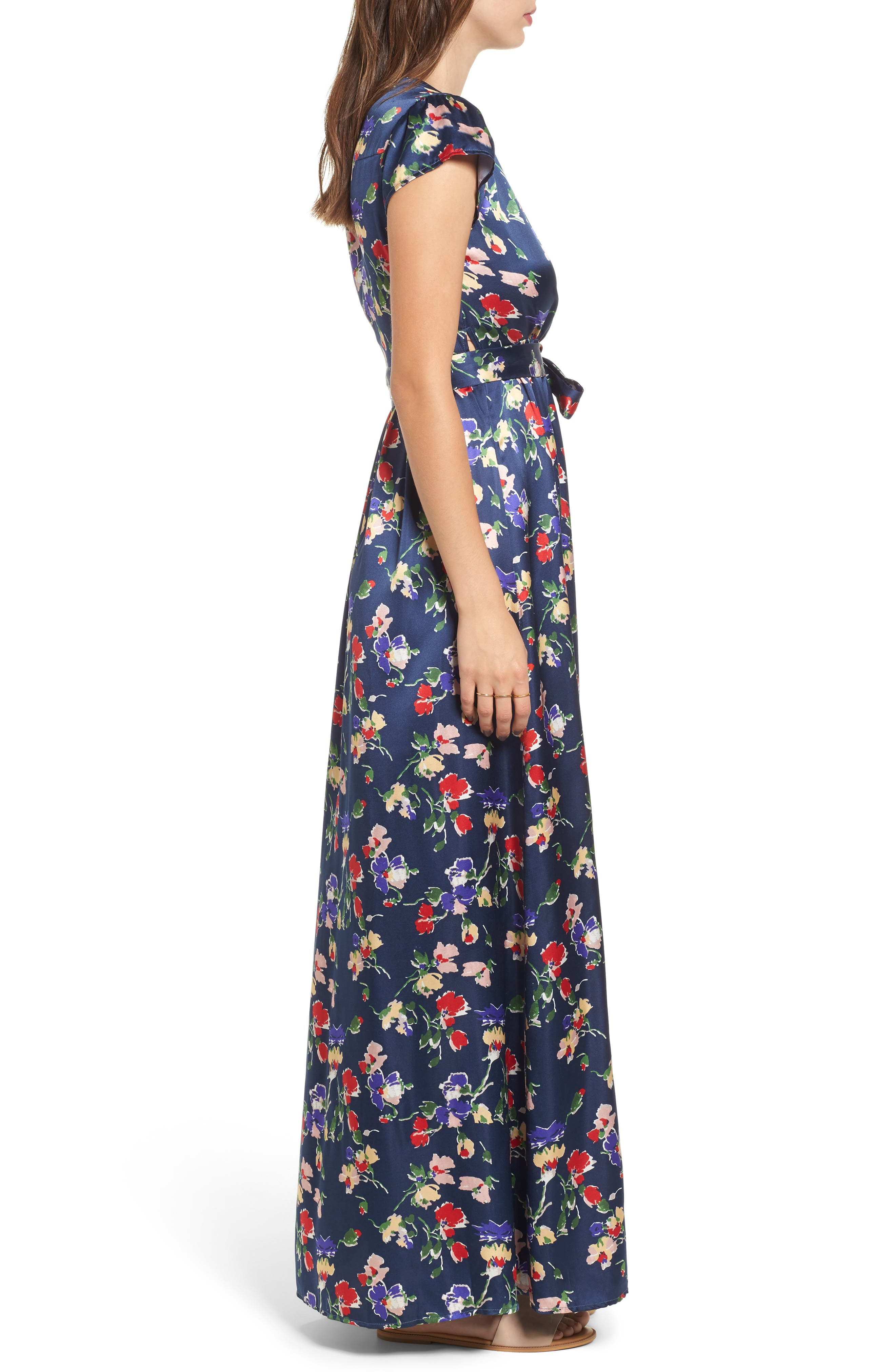 Floral Satin Faux Wrap Maxi Dress,                             Alternate thumbnail 3, color,                             900