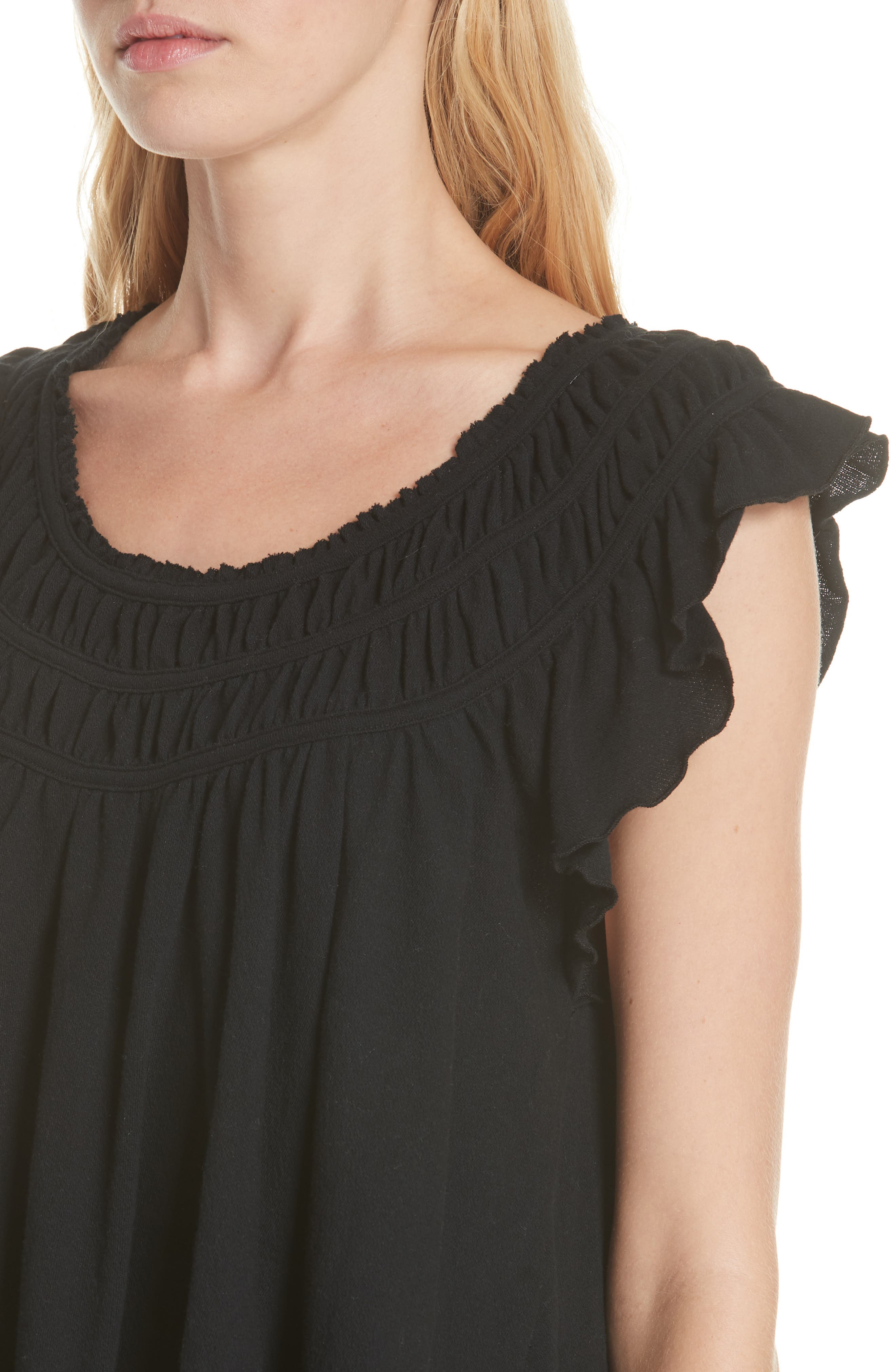 We the Free by Free People Coconut Gathered Top,                             Alternate thumbnail 4, color,                             BLACK