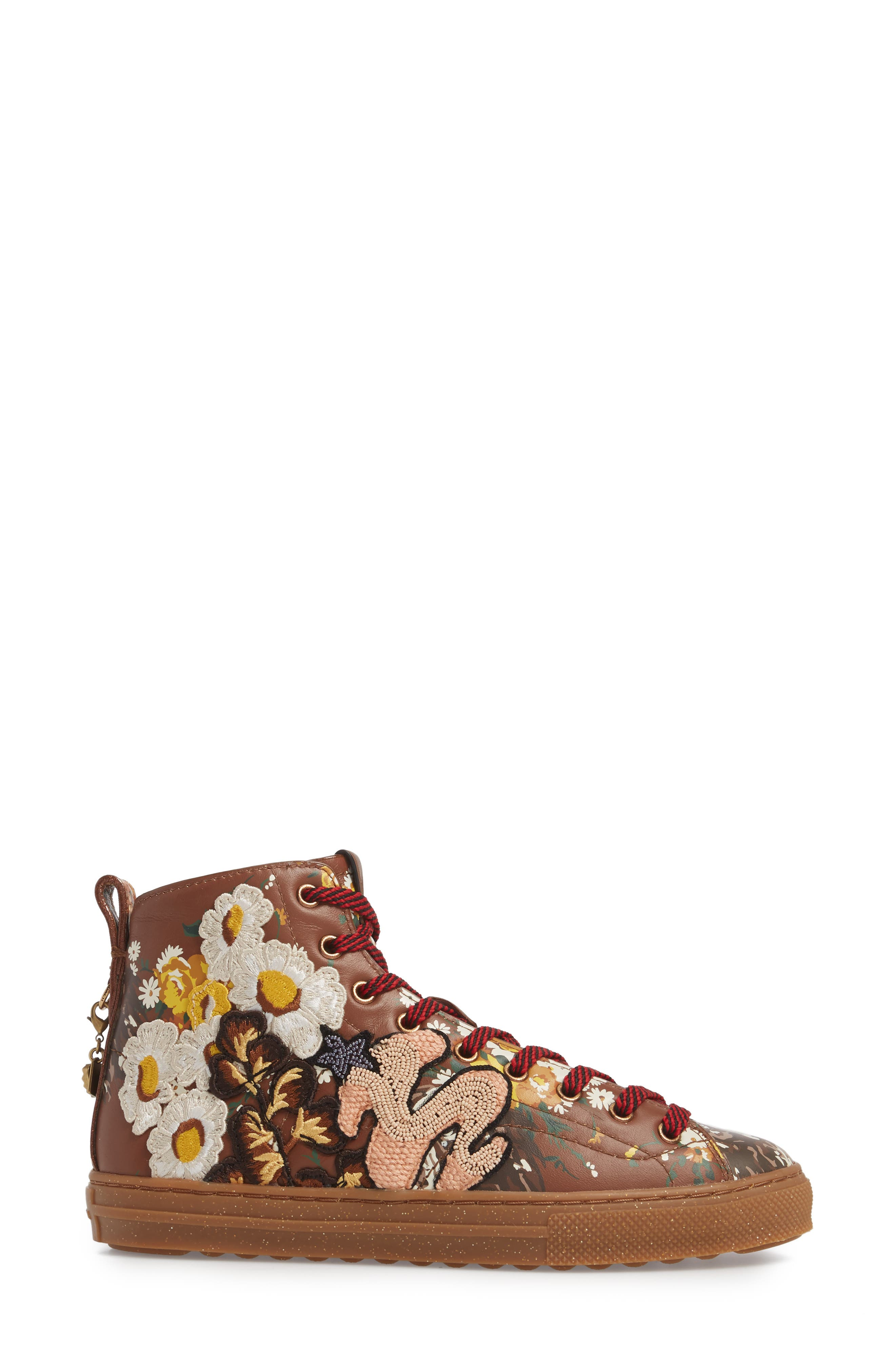 Flower Patch High Top Sneaker,                             Alternate thumbnail 3, color,