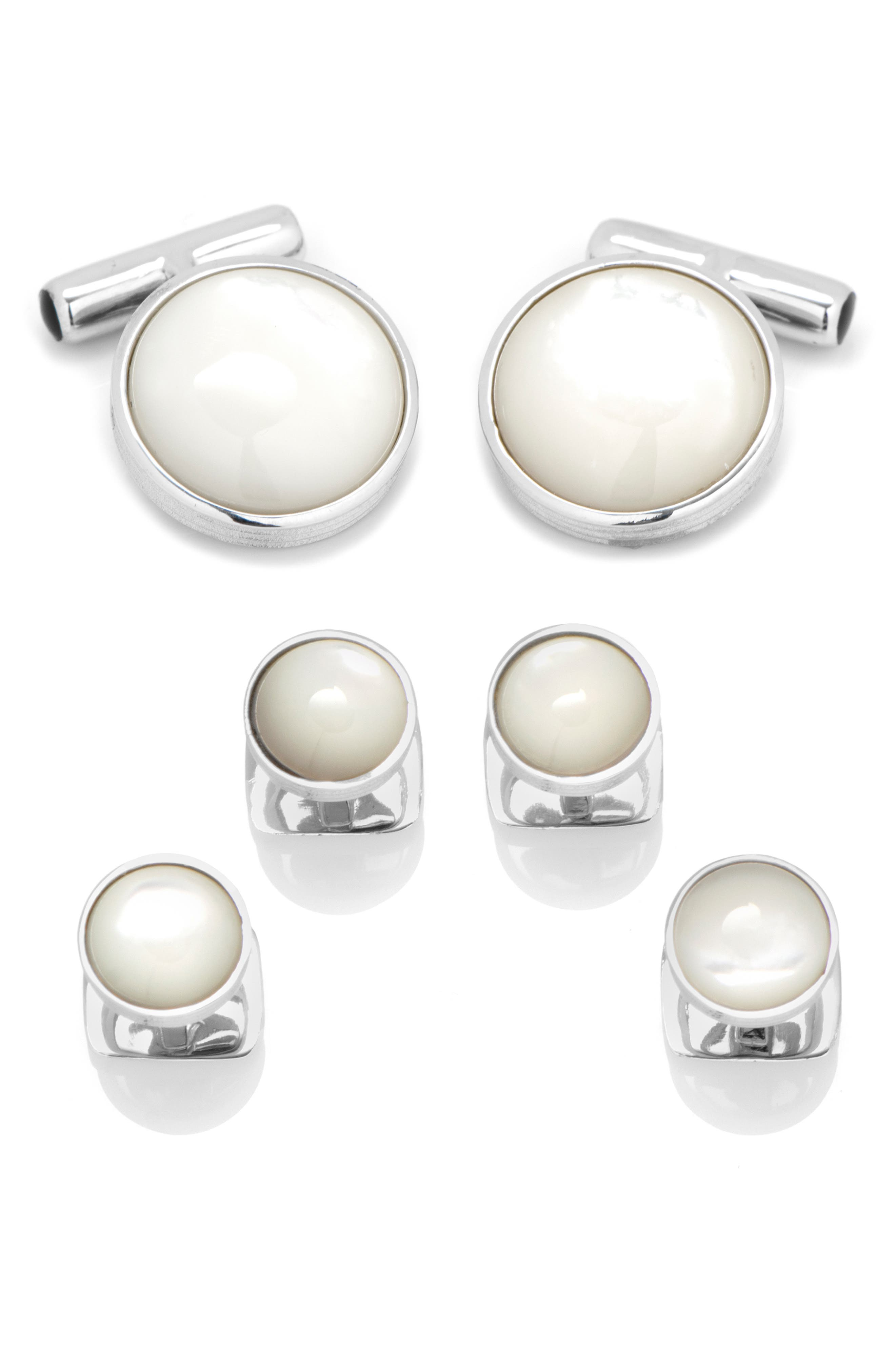 CUFFLINKS INC. Mother-Of-Pearl Sterling Silver Cuff Links & Stud Set in White