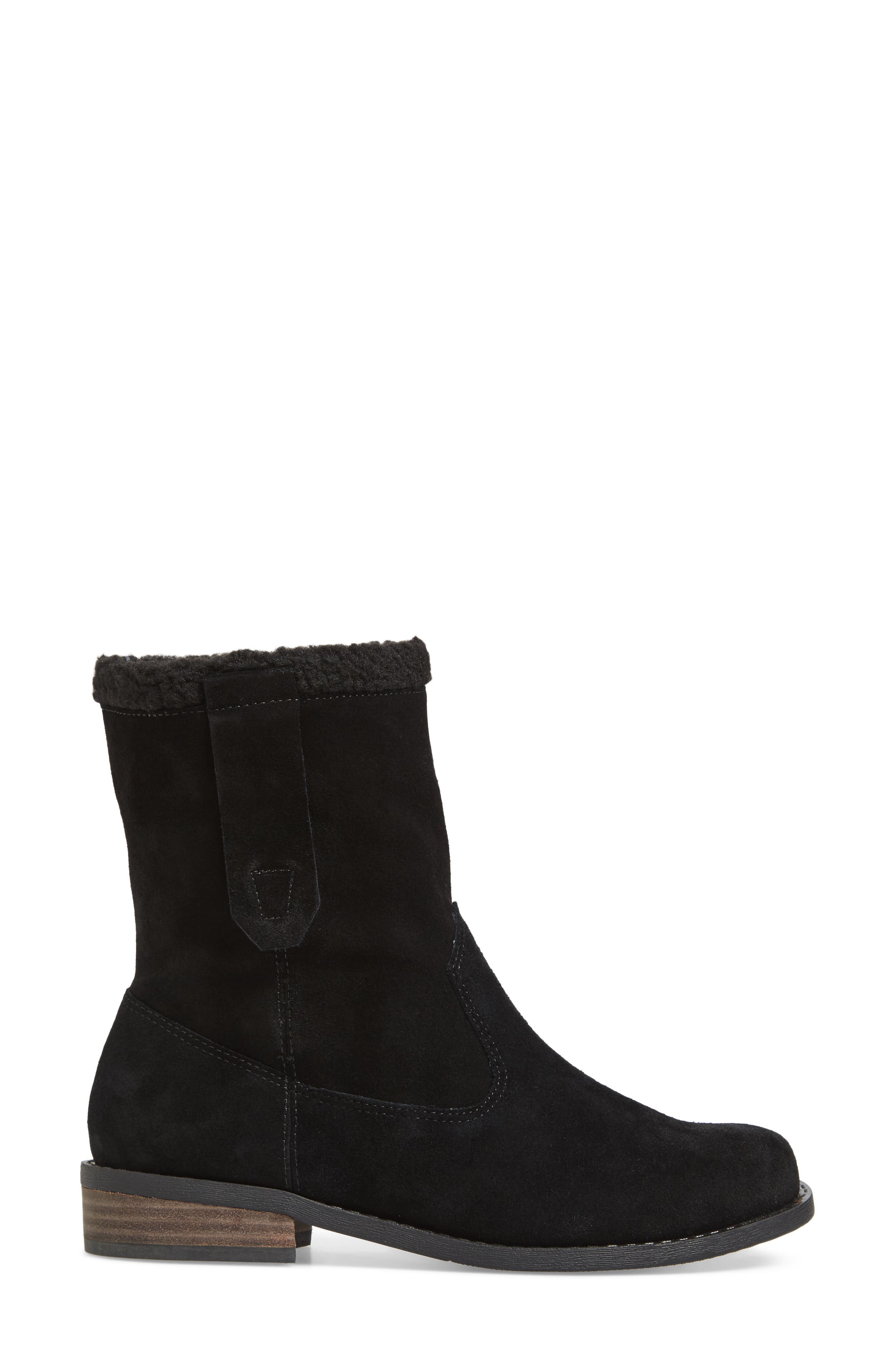 Verona Faux Shearling Boot,                             Alternate thumbnail 3, color,                             BLACK/ BLACK SUEDE
