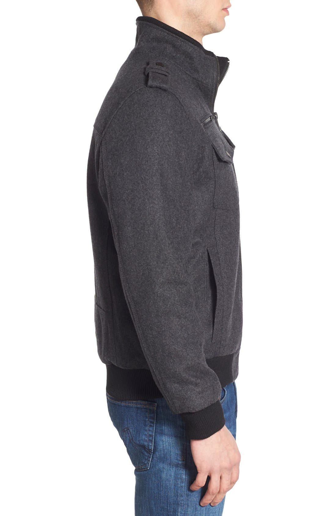 Wool Blend Bomber Jacket,                             Alternate thumbnail 8, color,