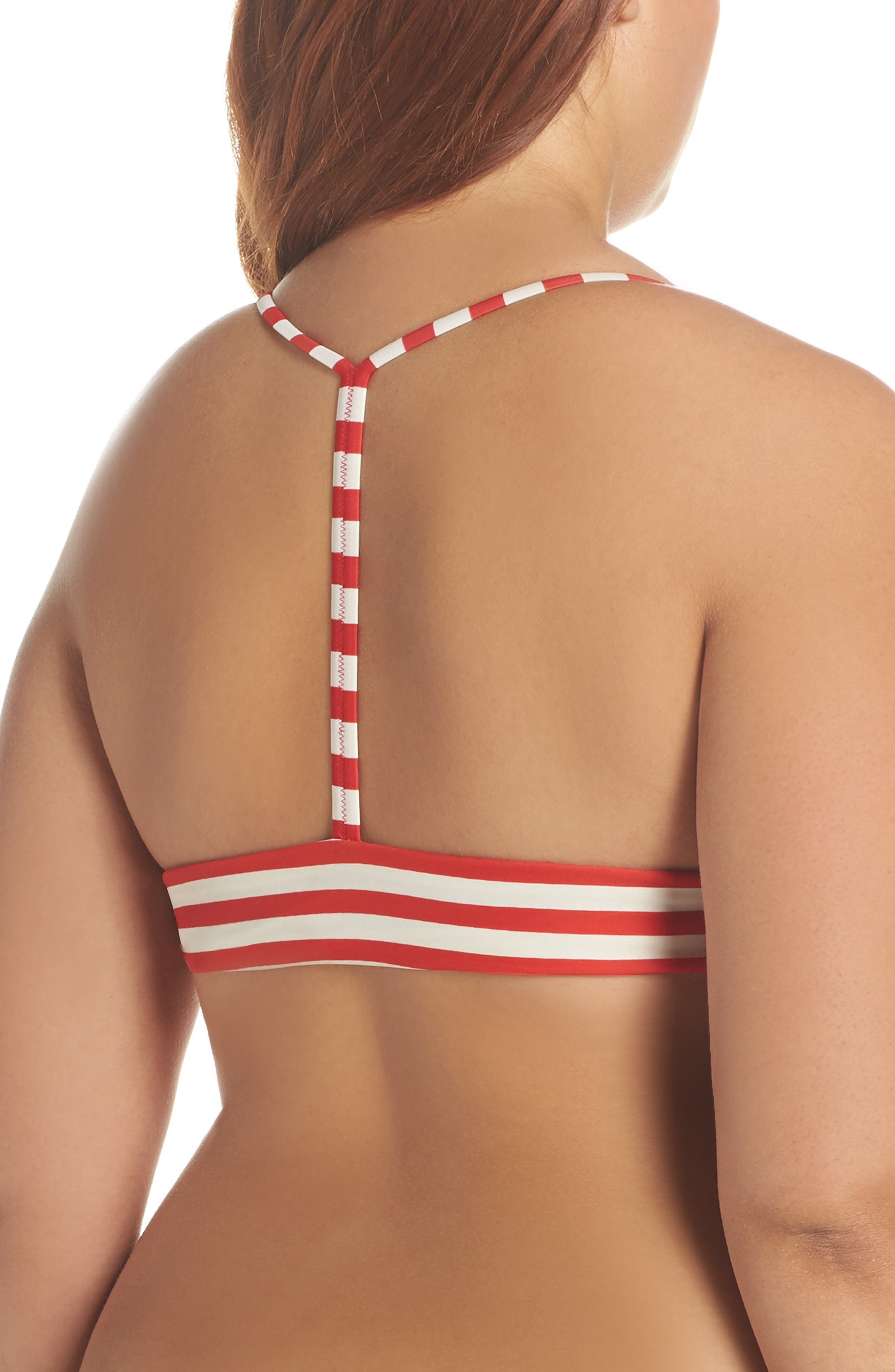 Stripe Banded T-Back Bikini Top,                             Alternate thumbnail 5, color,                             NAVY VIVID FLAME