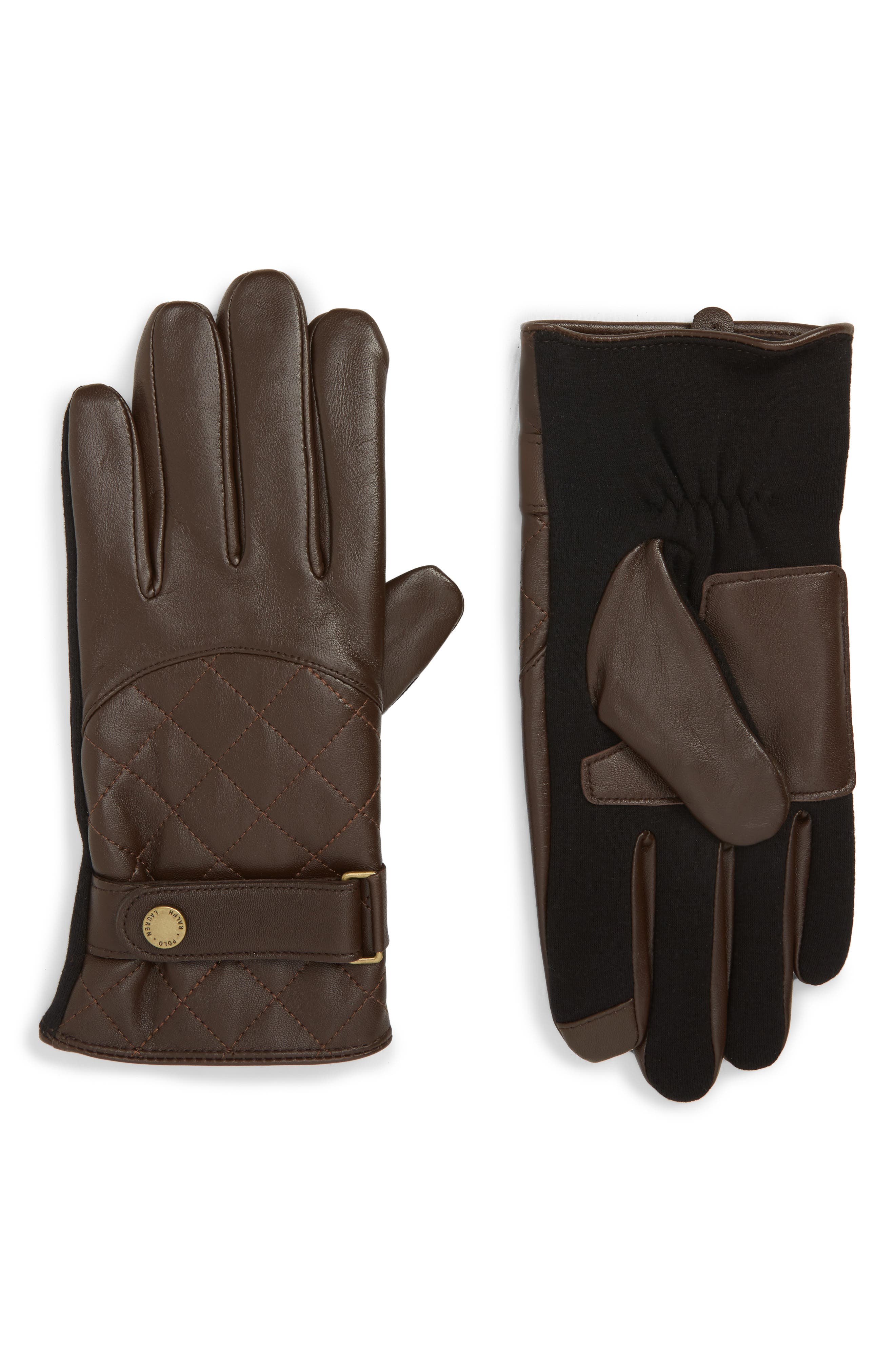 Polo Ralph Lauren Quilted Leather Gloves, Brown