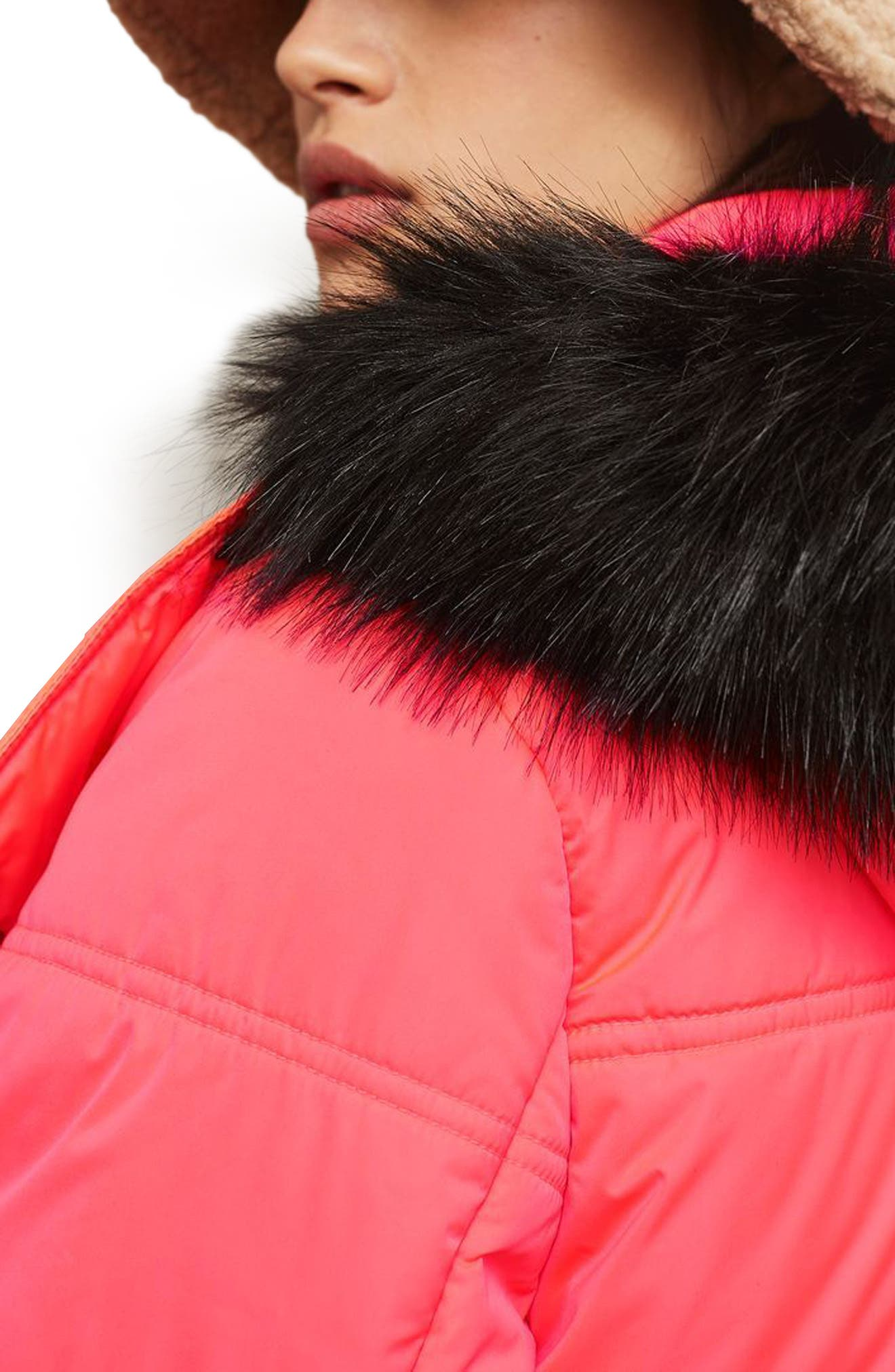 SNO Rio Faux Fur Hood Neon Puffer Jacket,                             Alternate thumbnail 3, color,                             650