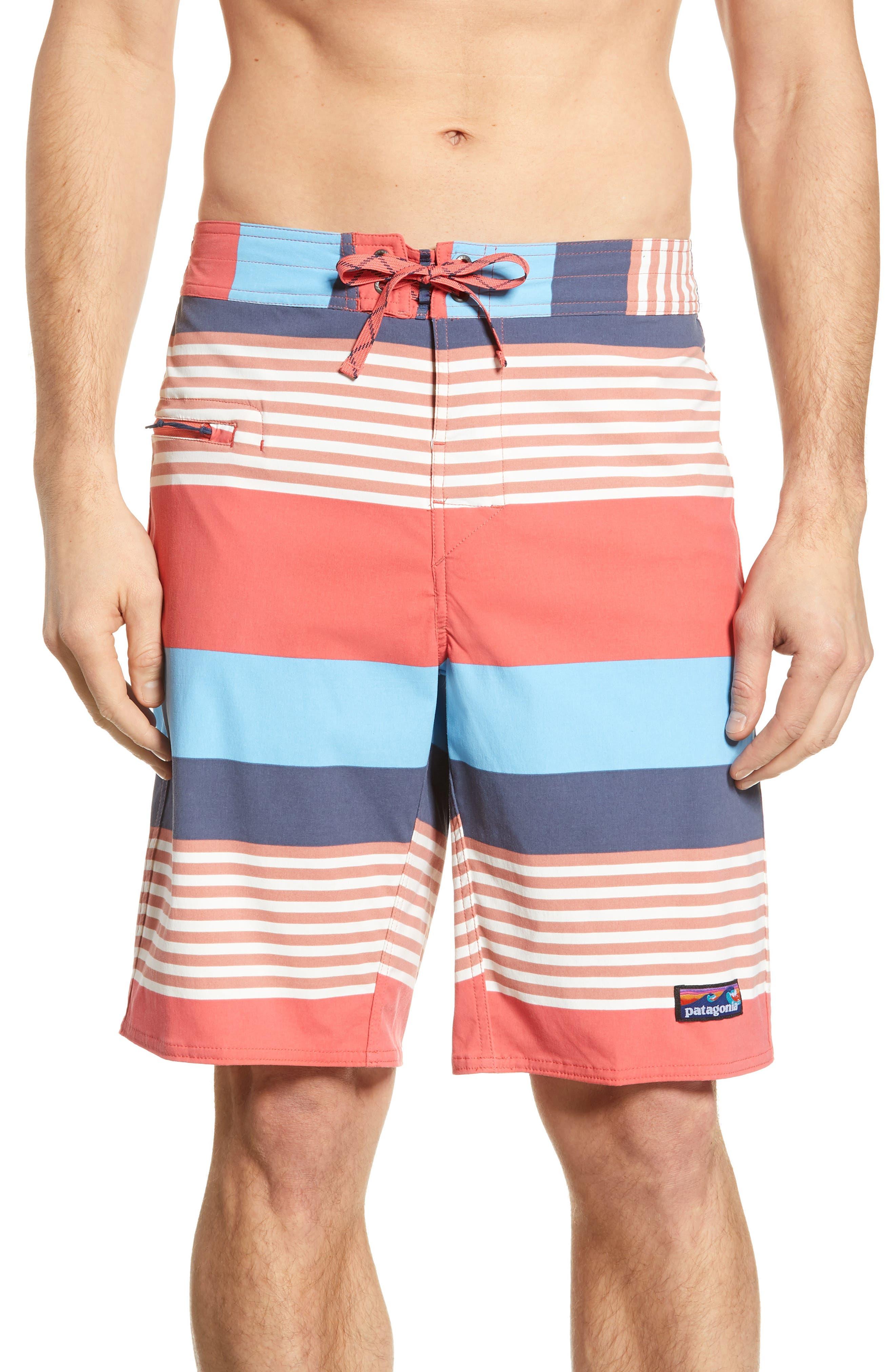 PATAGONIA,                             Wavefarer Board Shorts,                             Main thumbnail 1, color,                             FITZ STRIPE: SPICED CORAL