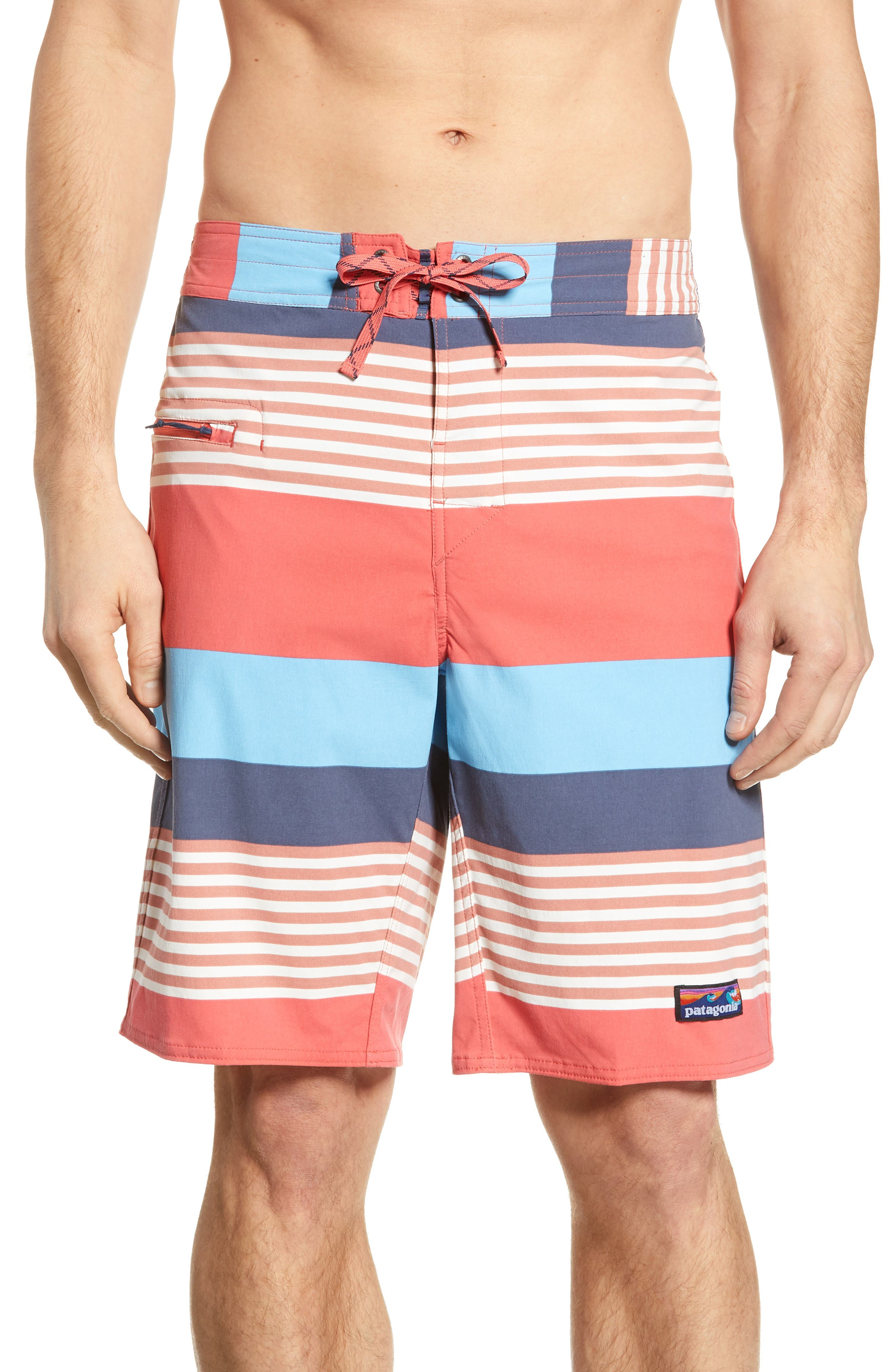 PATAGONIA Wavefarer Board Shorts, Main, color, FITZ STRIPE: SPICED CORAL