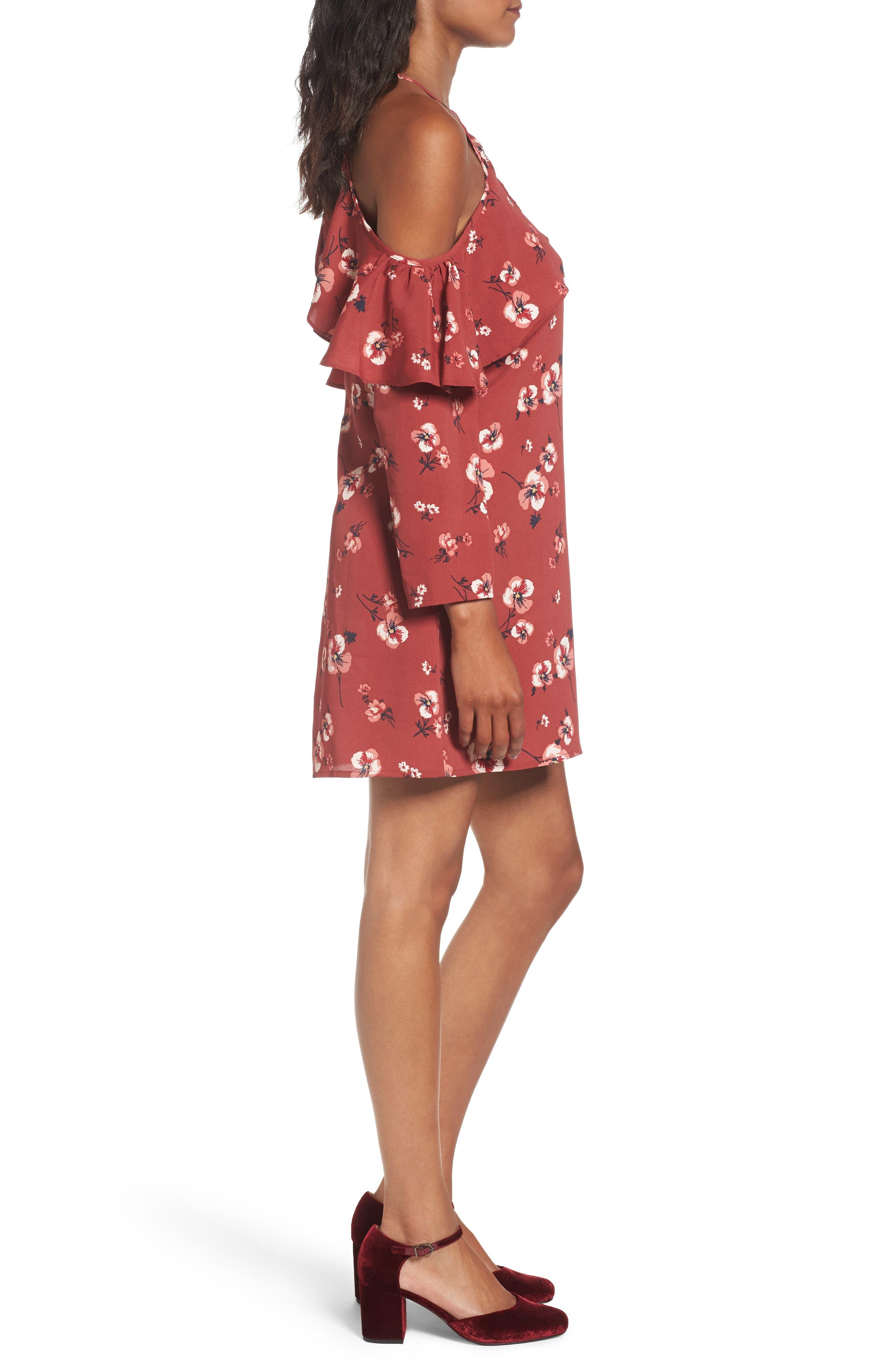 Poppy Print Ruffle Cold Shoulder Dress,                             Alternate thumbnail 3, color,                             600