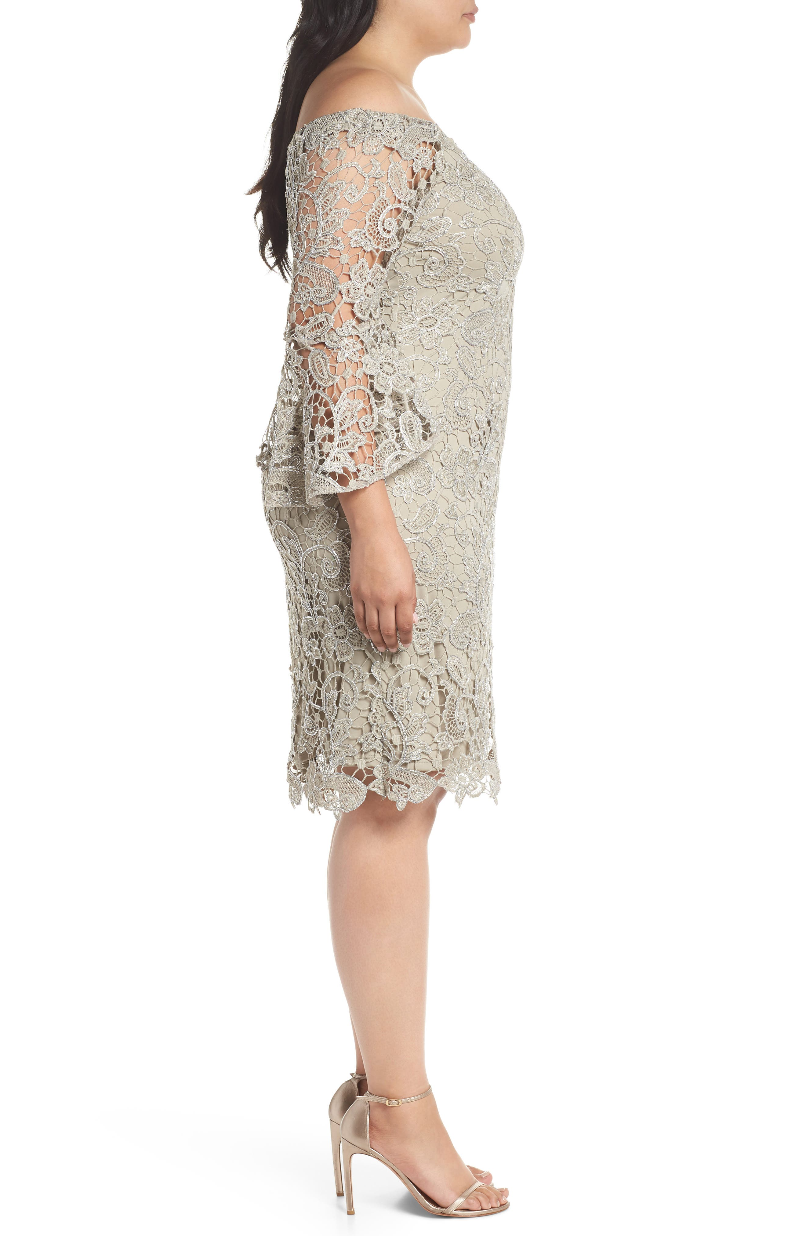 Lace Off the Shoulder Bell Sleeve Dress,                             Alternate thumbnail 3, color,                             250