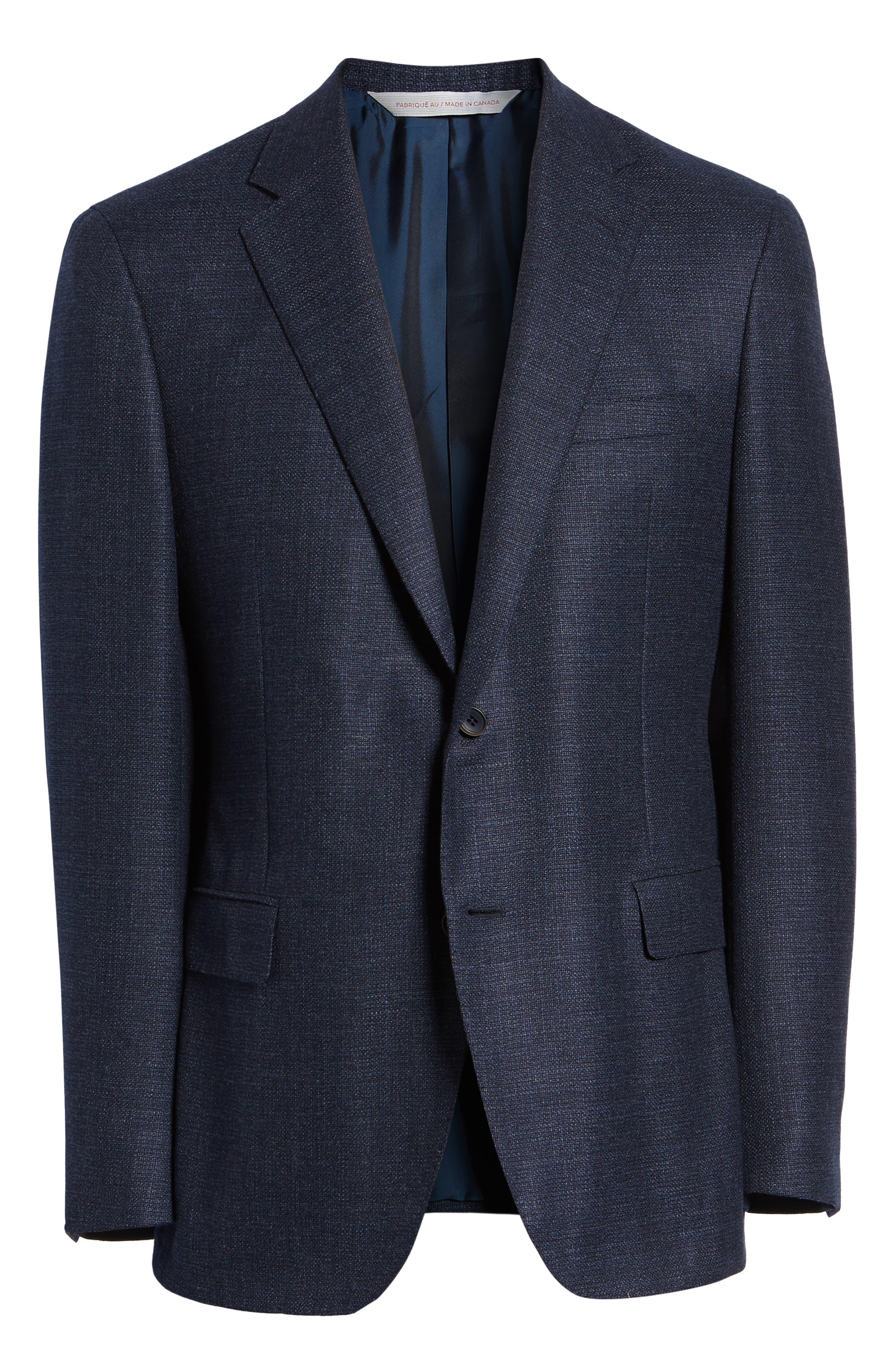 Classic Fit Wool Blend Blazer,                             Alternate thumbnail 5, color,                             NAVY