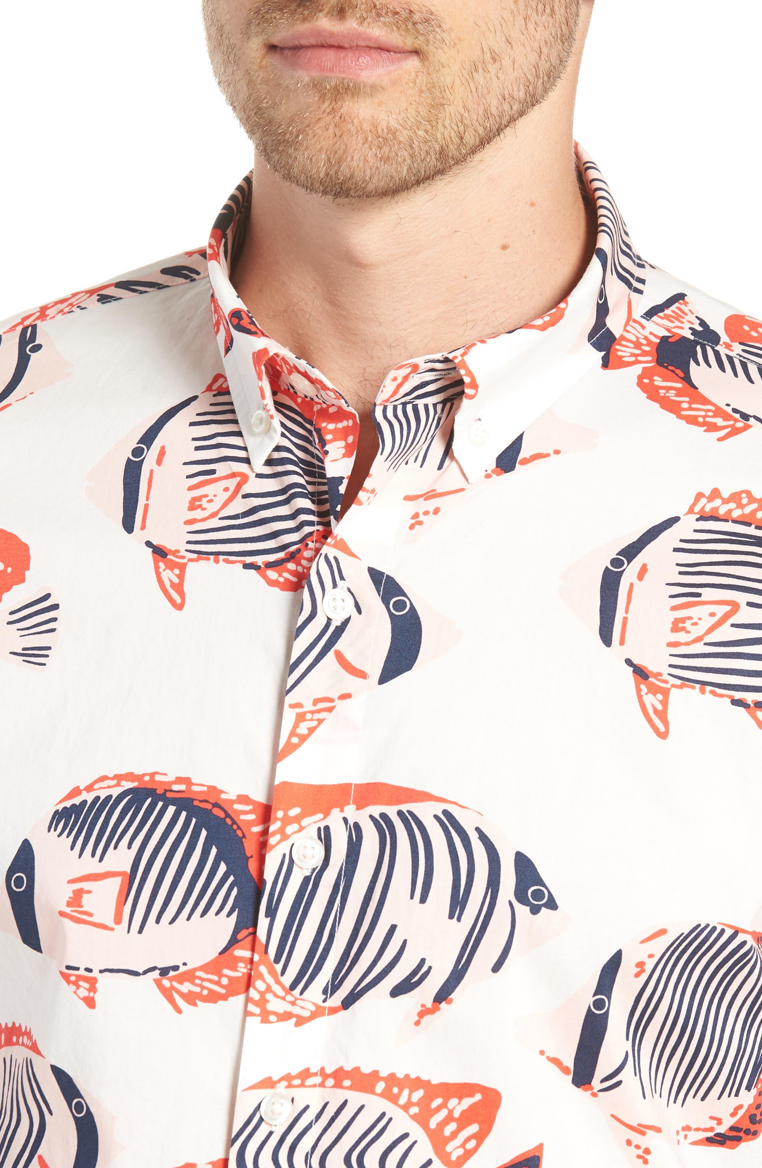 Riviera Slim Fit Fish Print Sport Shirt,                             Alternate thumbnail 2, color,                             100