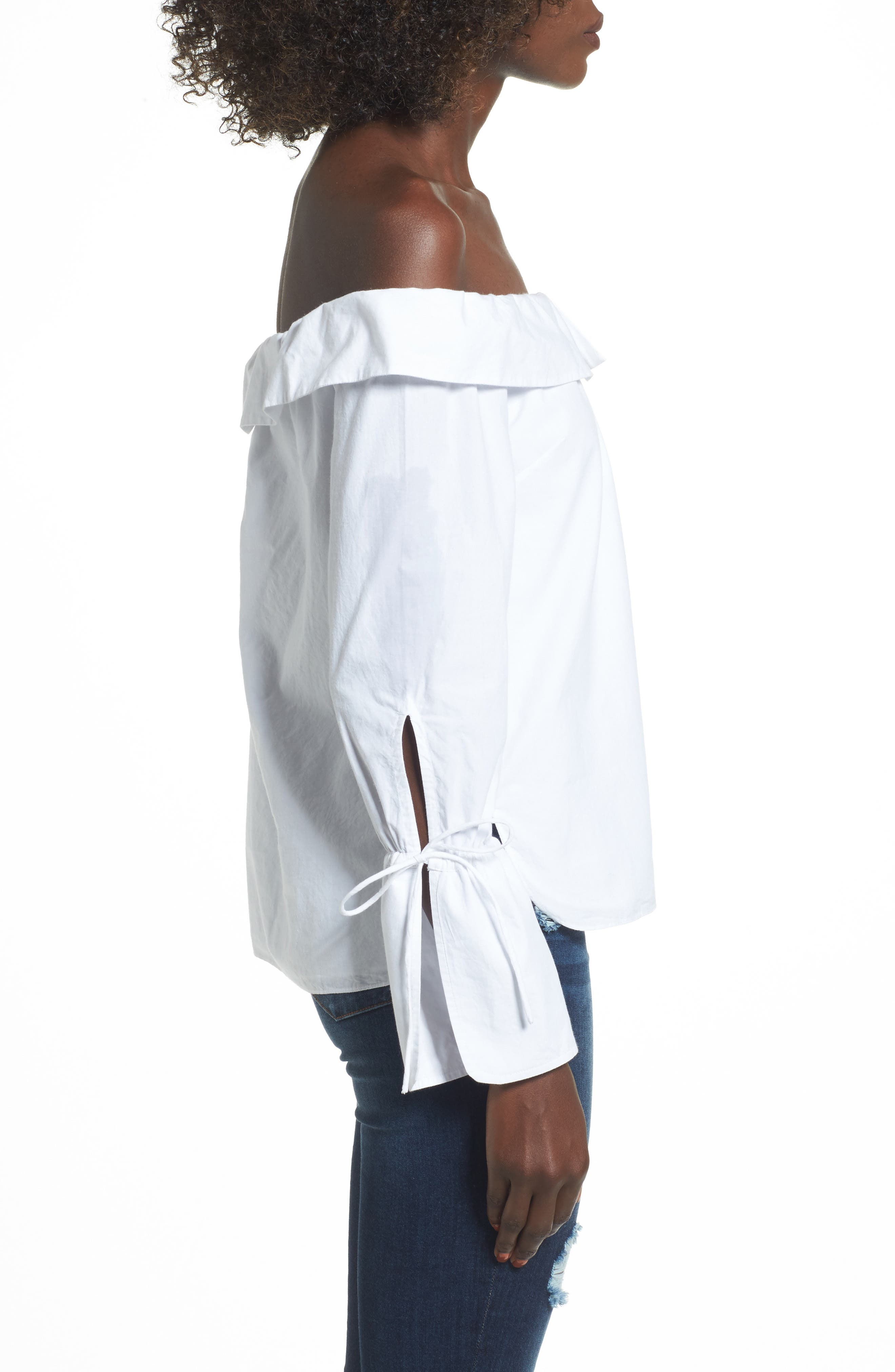L'Academie Aria Off the Shoulder Blouse,                             Alternate thumbnail 3, color,                             100
