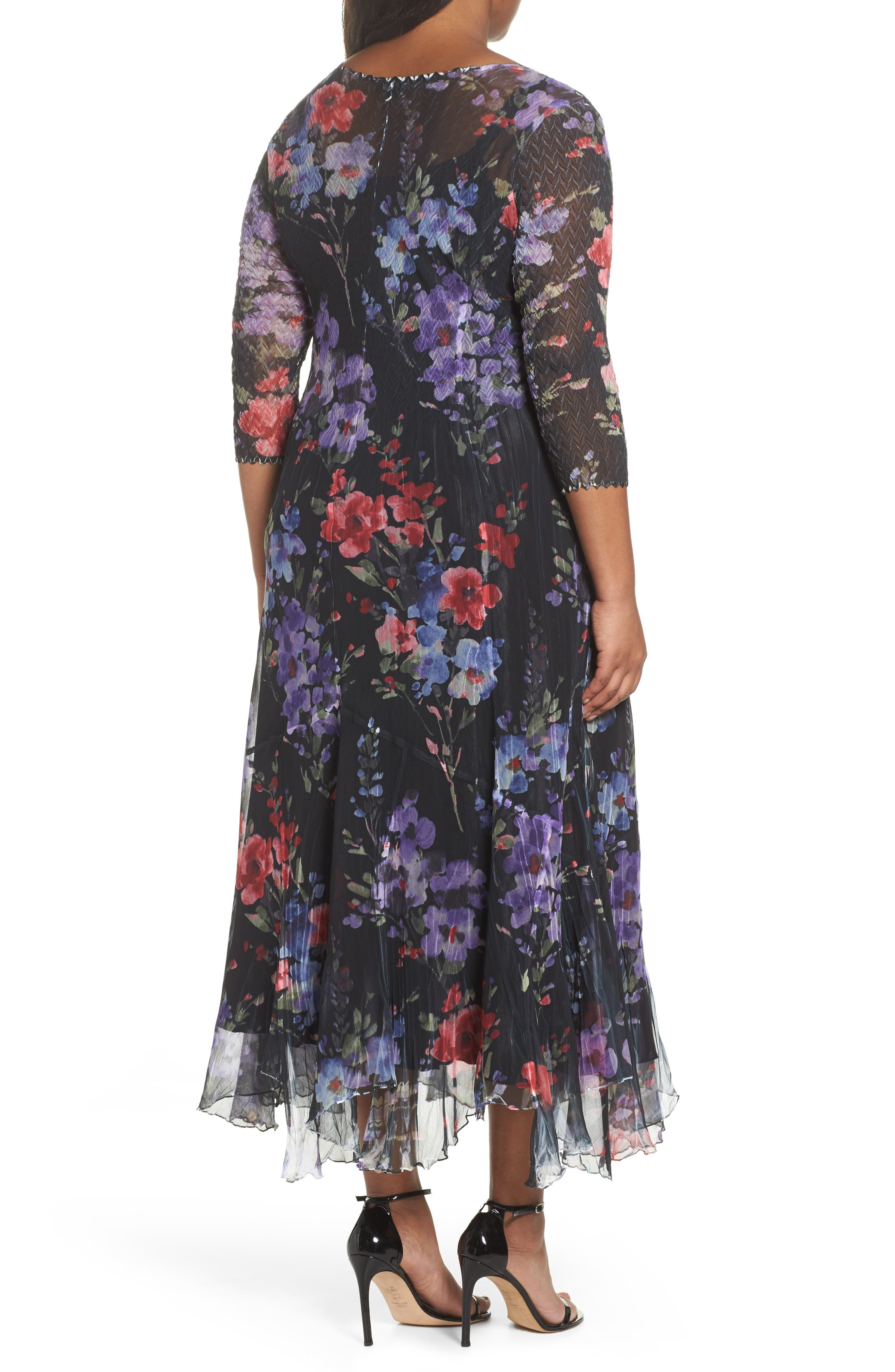 Lace & Charmeuse Floral Print Maxi Dress,                             Alternate thumbnail 2, color,                             400