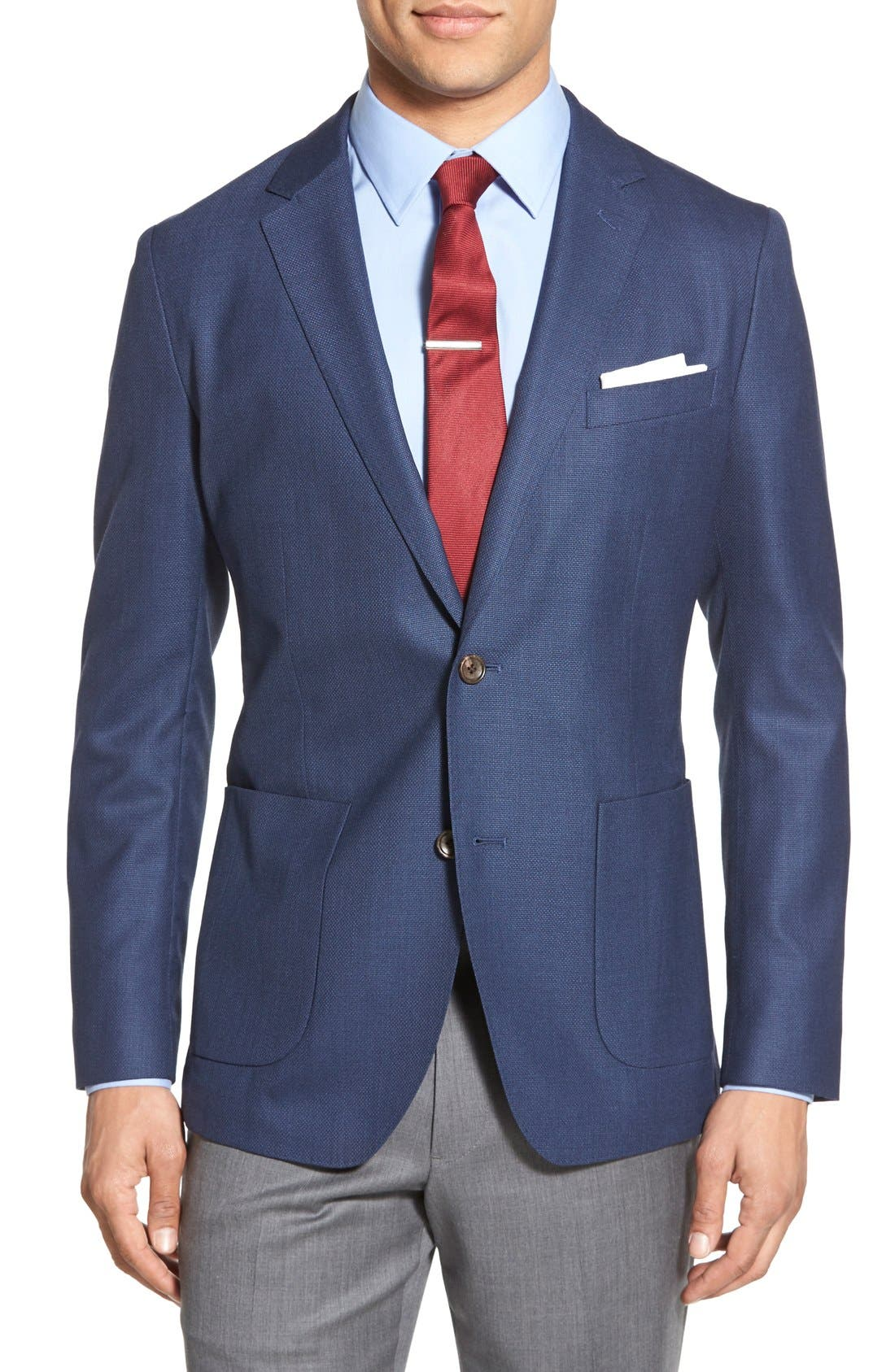 Wool Unconstructed Sport Coat,                         Main,                         color, BLUE
