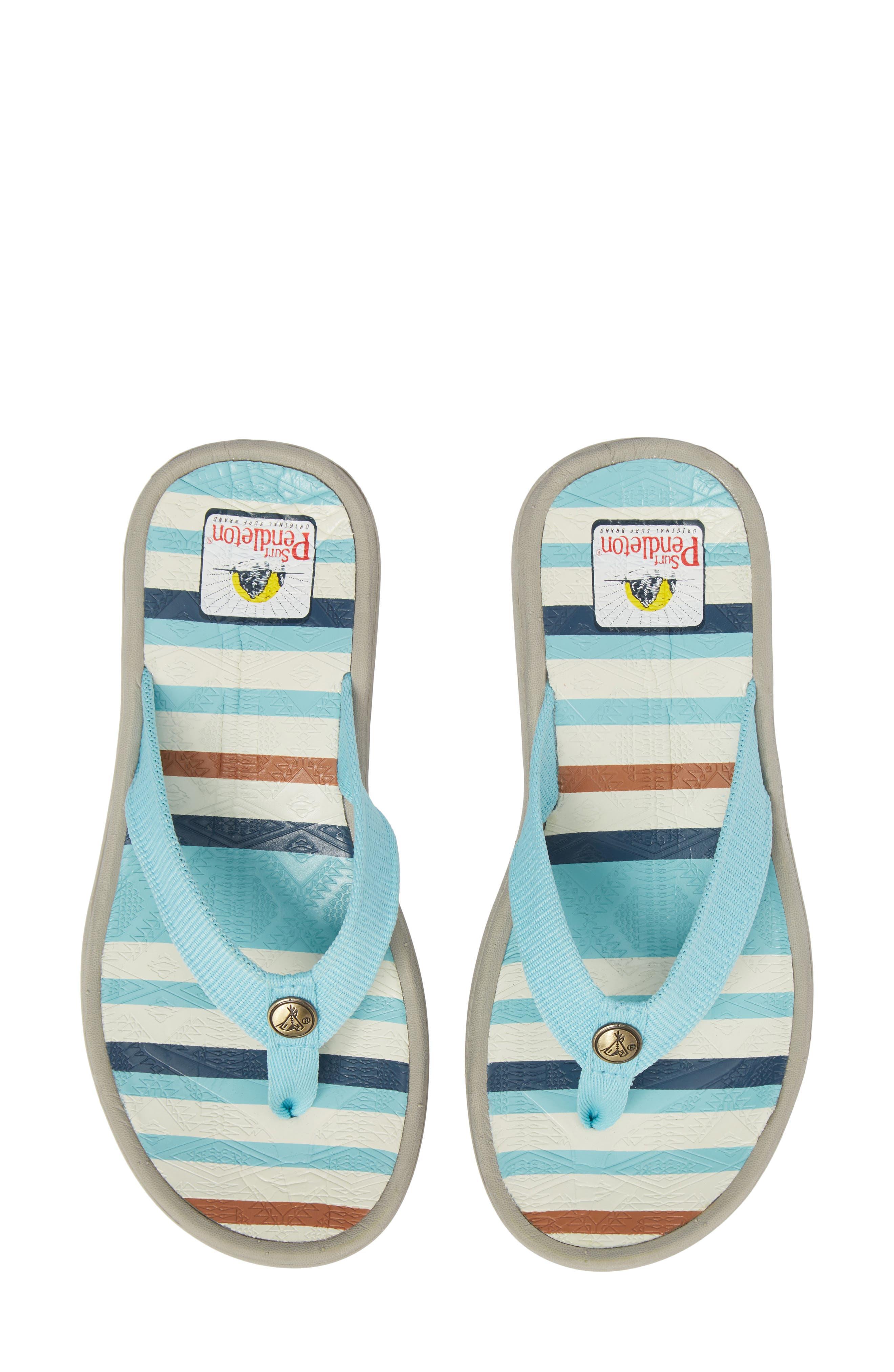 Pendleton Surf Stripe Flip Flop,                             Main thumbnail 1, color,                             AQUA