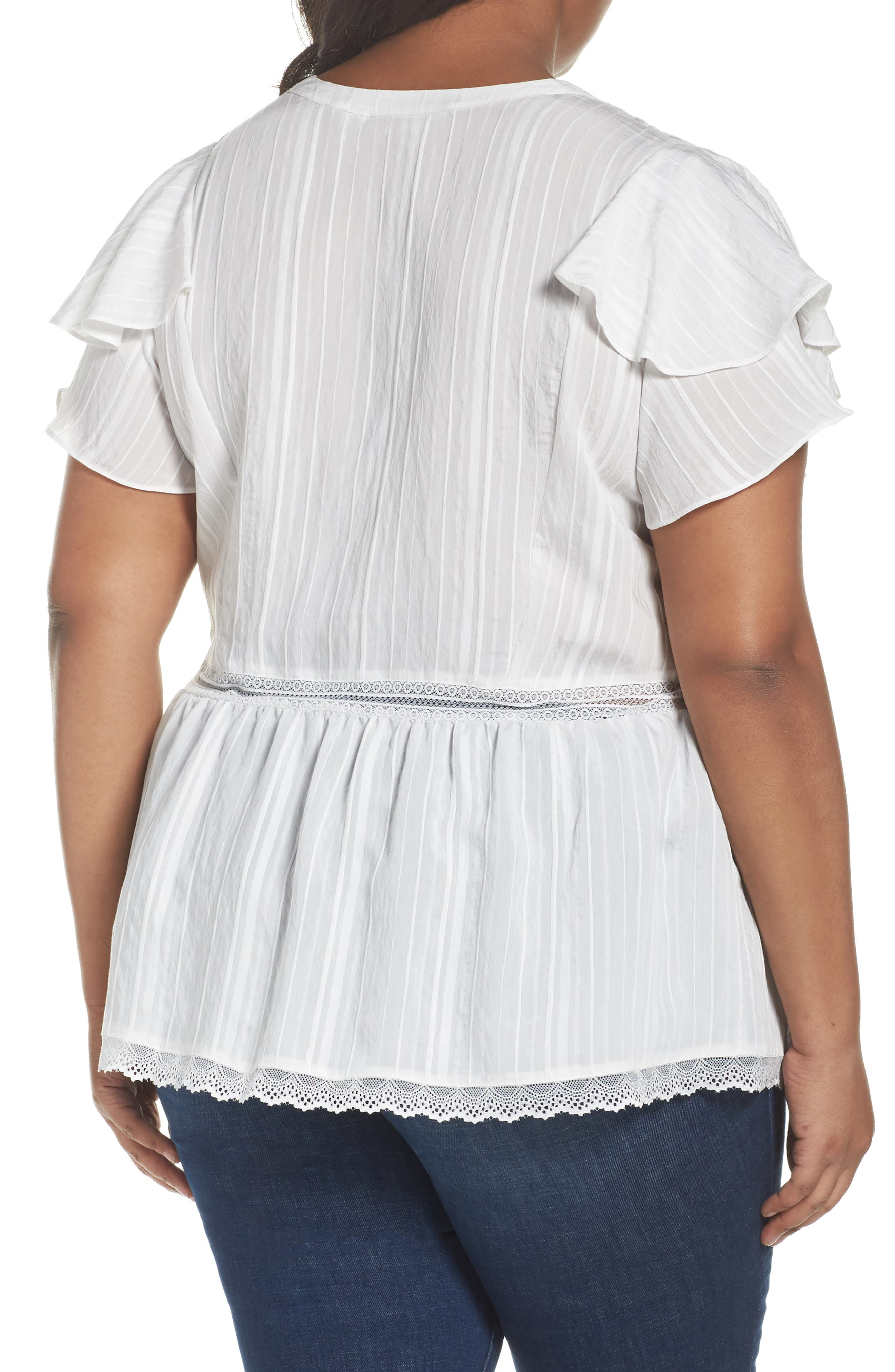 Lace Trim Pintuck Pleated Top,                             Alternate thumbnail 6, color,