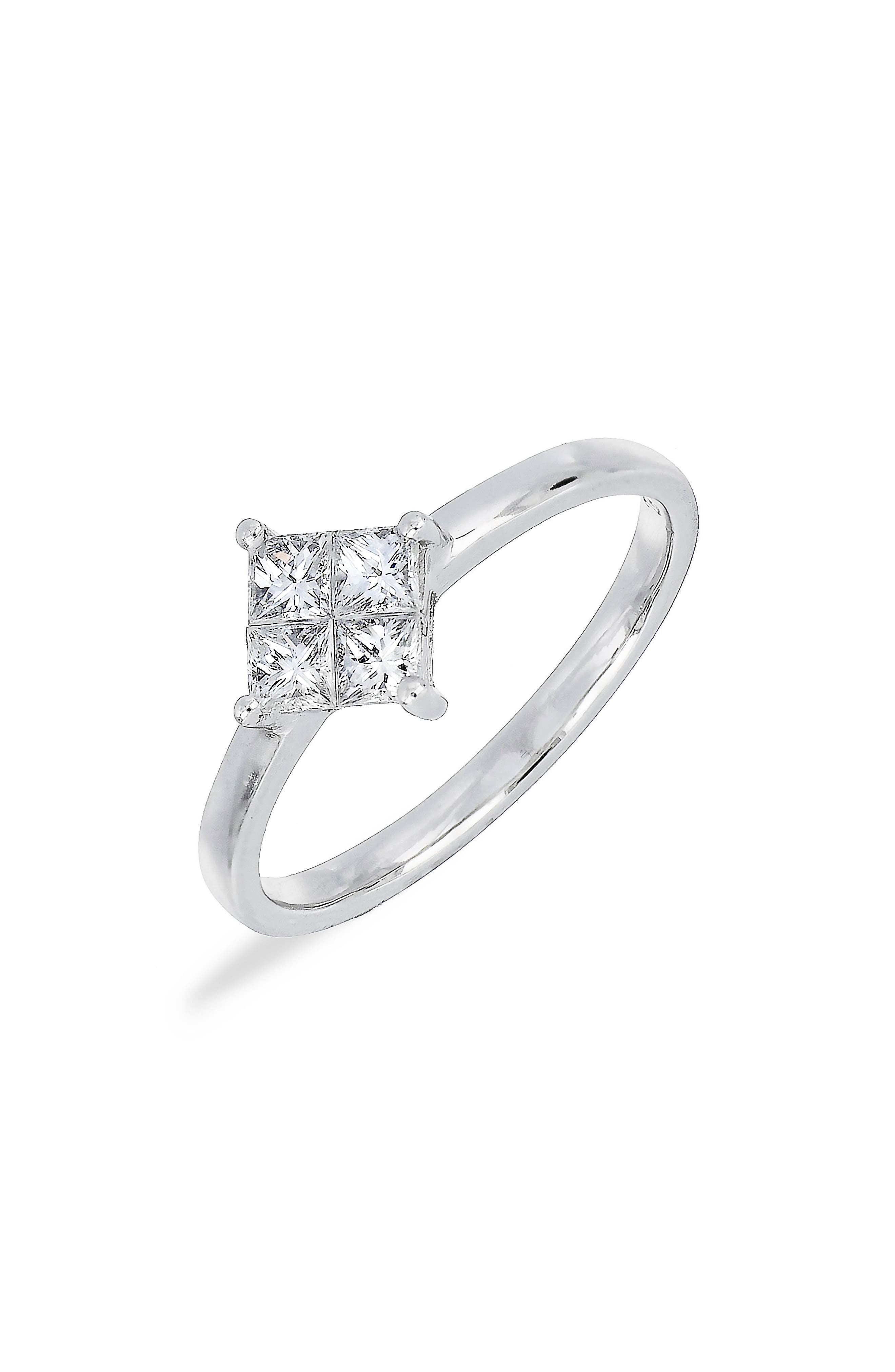 Princess Diamond Ring,                         Main,                         color, WHITE GOLD