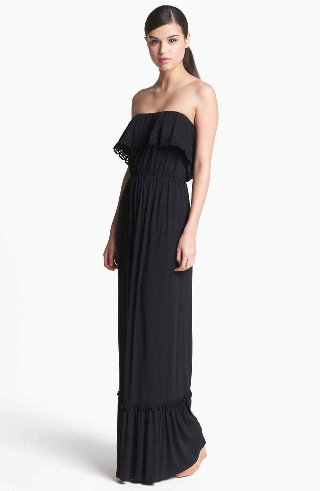 Ruffled Strapless Maxi Dress,                             Main thumbnail 1, color,                             001