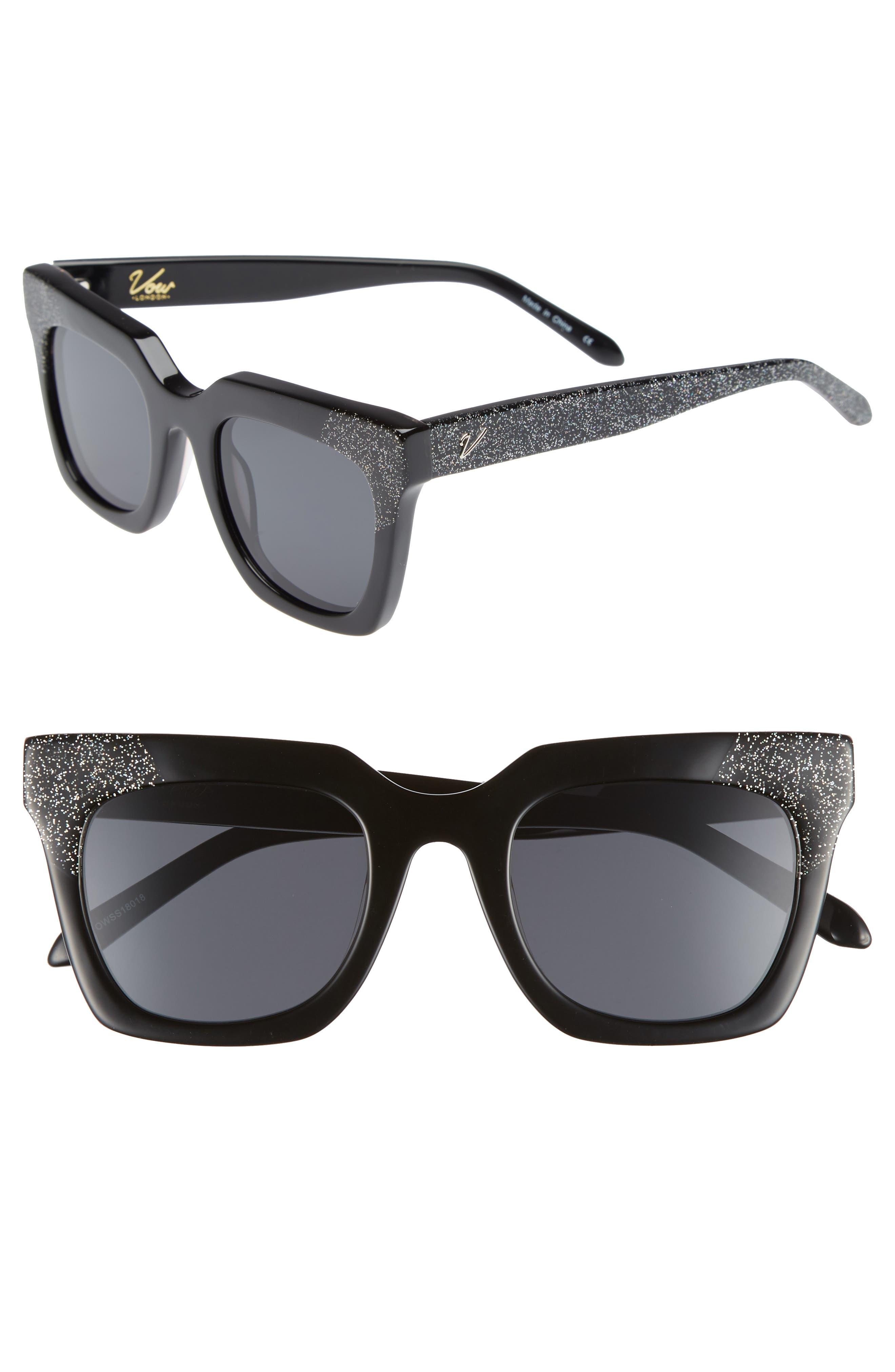 Riley 50mm Cat Eye Sunglasses,                         Main,                         color, BLACK/ SMOKE