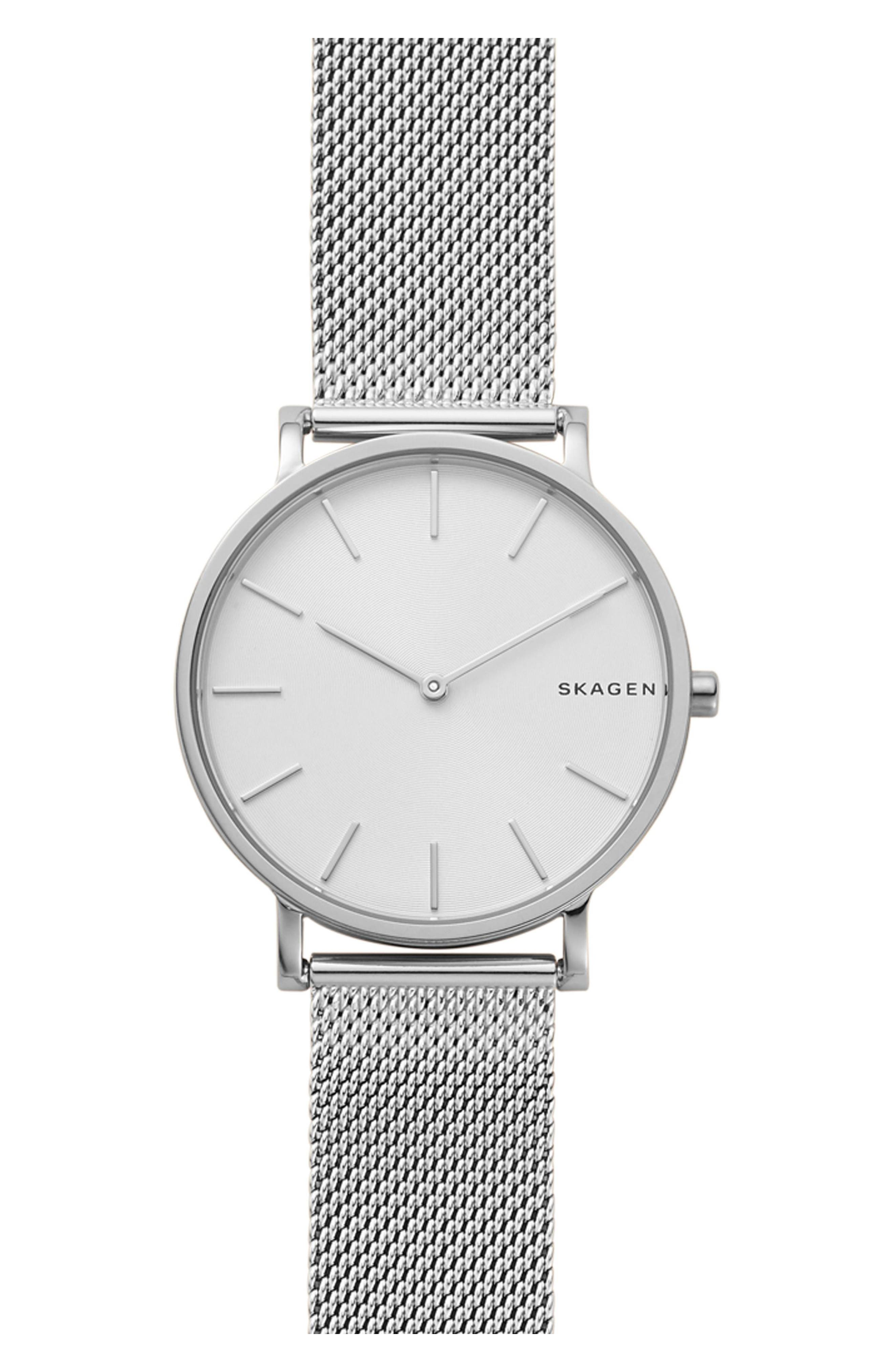 Hagen Slim Mesh Strap Watch, 38mm,                             Main thumbnail 1, color,                             SILVER