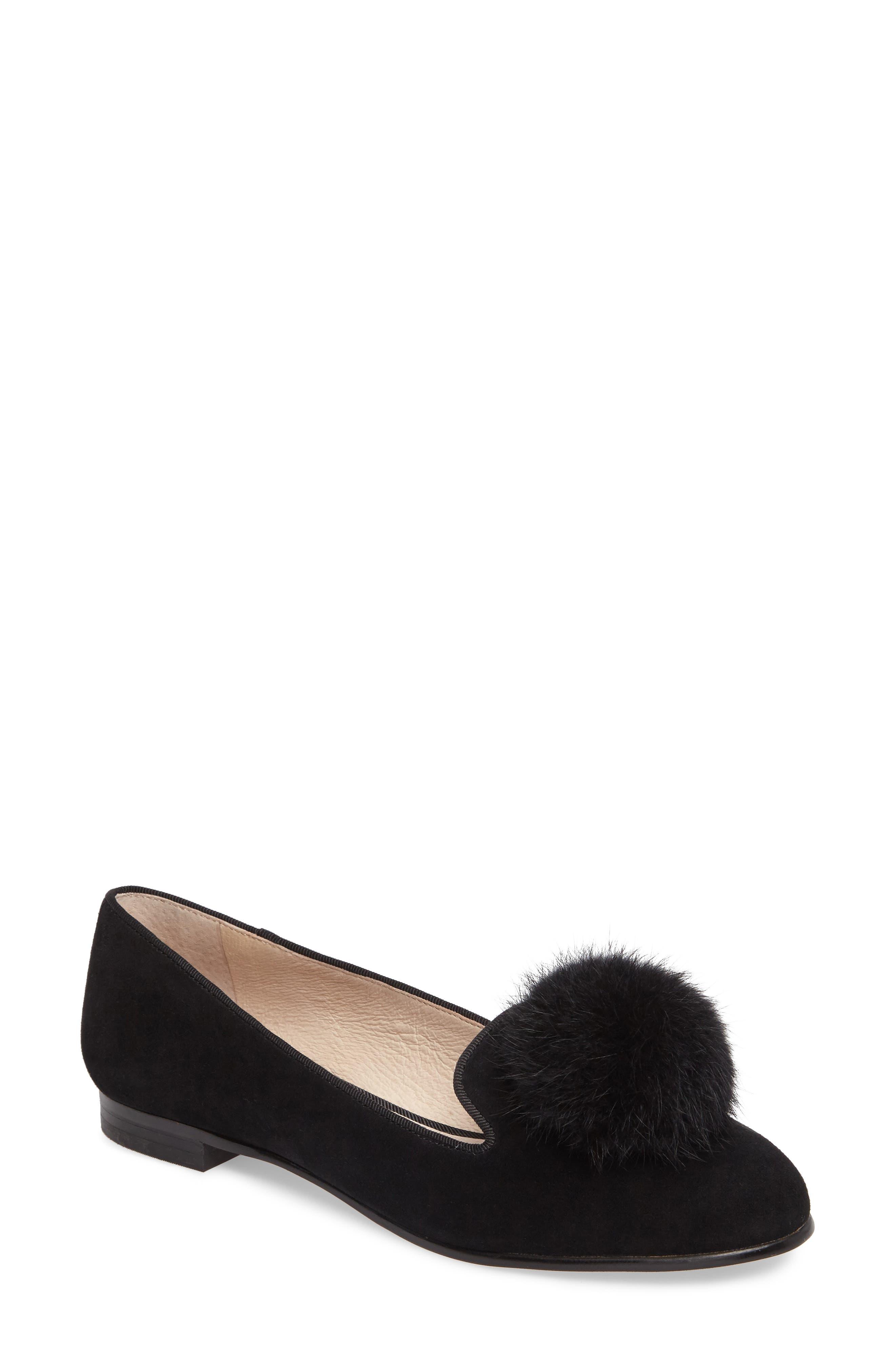 Andres Genuine Rabbit Fur Pom Loafer,                             Main thumbnail 1, color,                             BLACK SUEDE