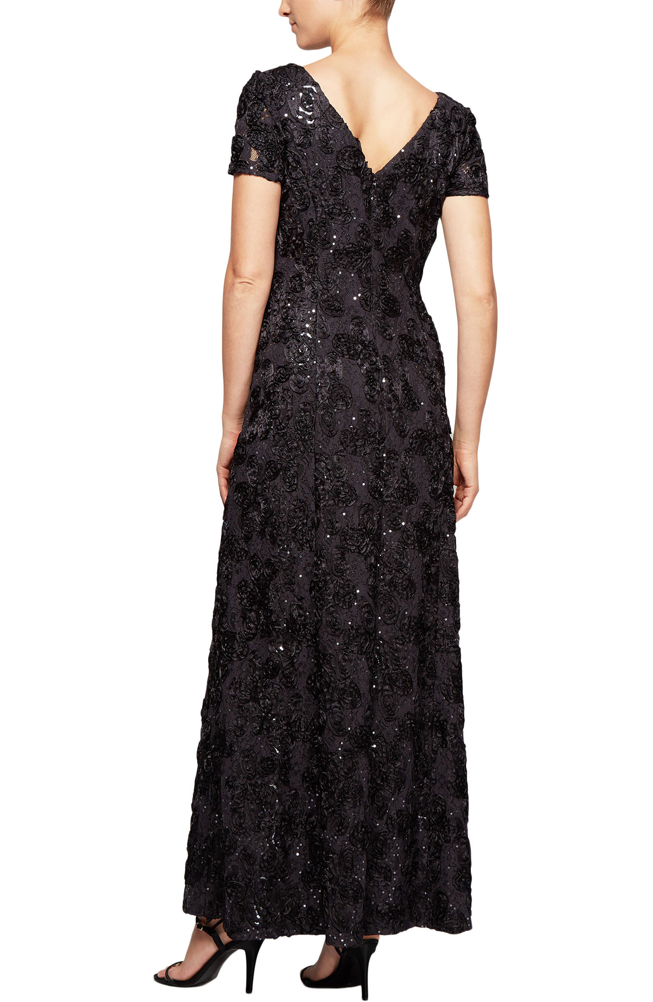 ALEX EVENINGS,                             Embellished Lace Gown,                             Alternate thumbnail 2, color,                             024