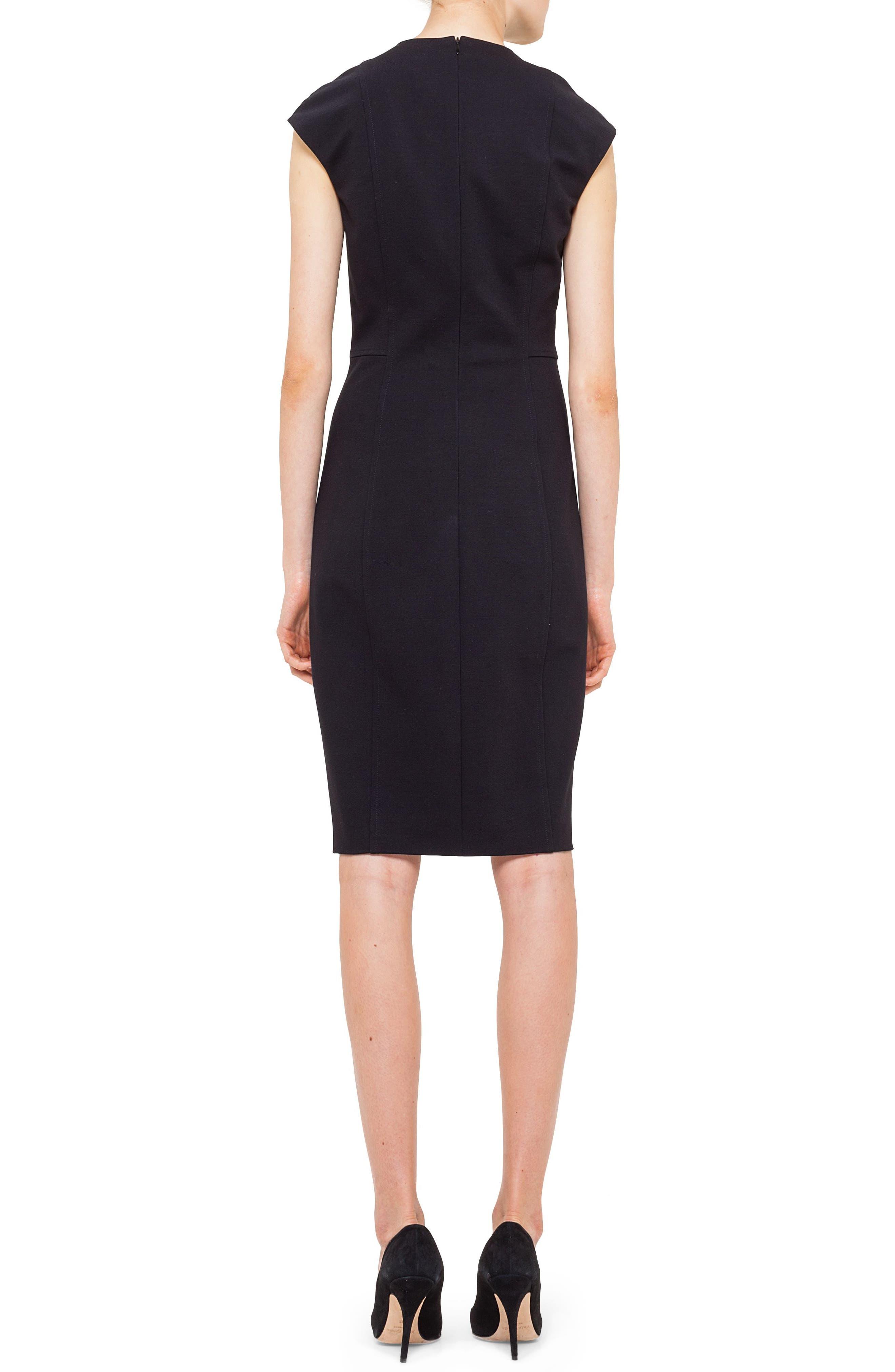 Cap Sleeve Sheath Dress,                             Alternate thumbnail 2, color,                             BLACK