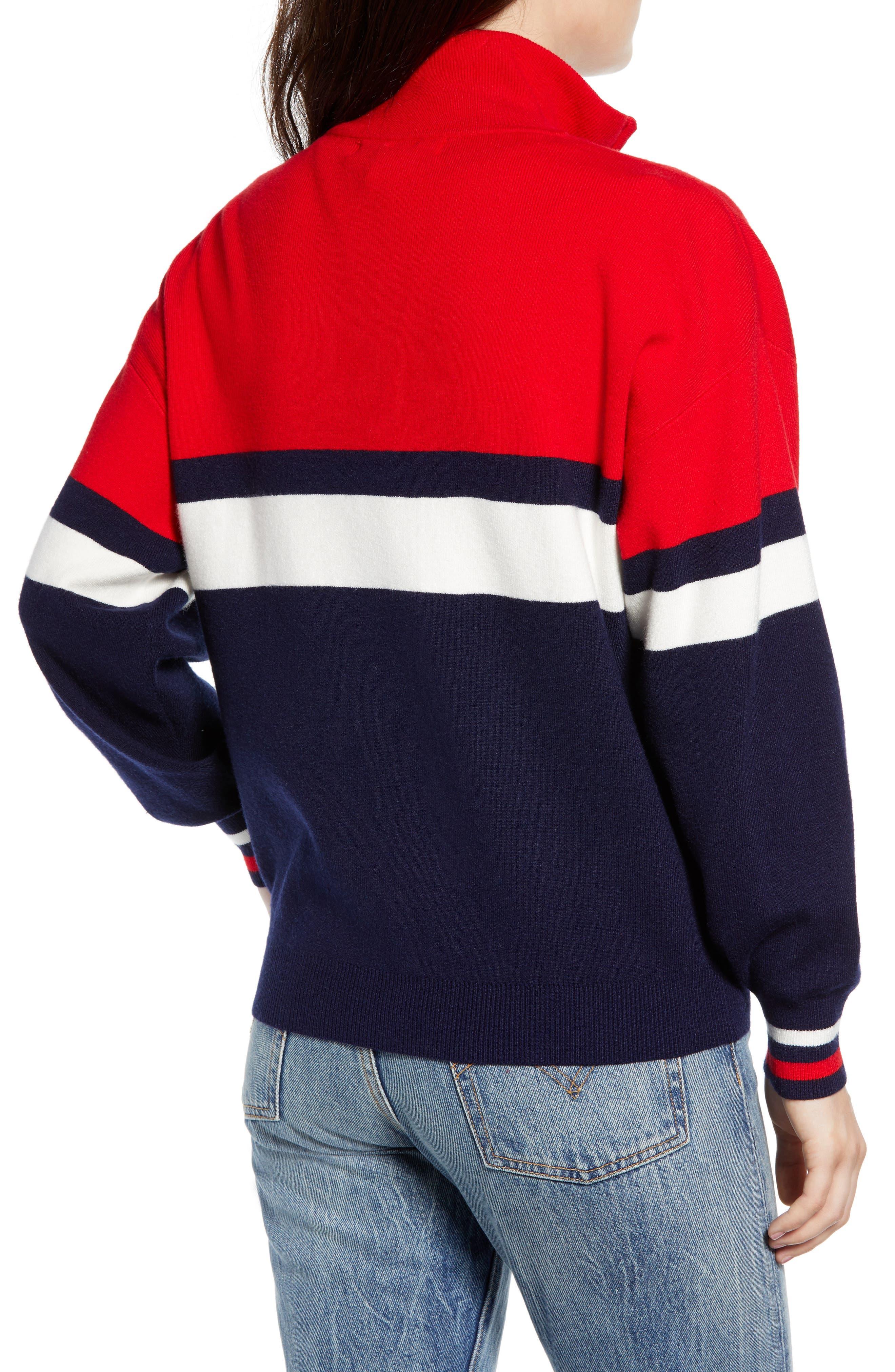 Stripe Half Zip Pullover,                             Alternate thumbnail 2, color,                             NAVY
