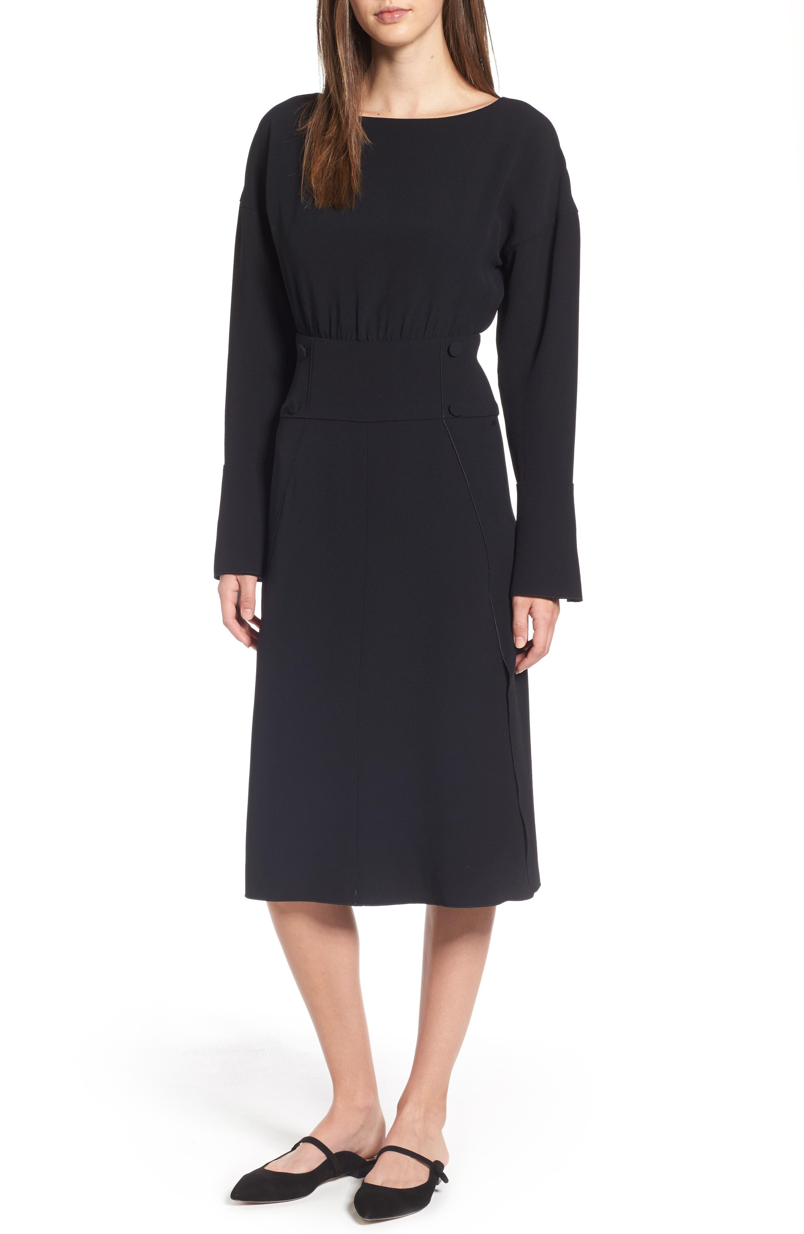 LEWIT Button Detail Matte Crepe Midi Dress, Main, color, 001