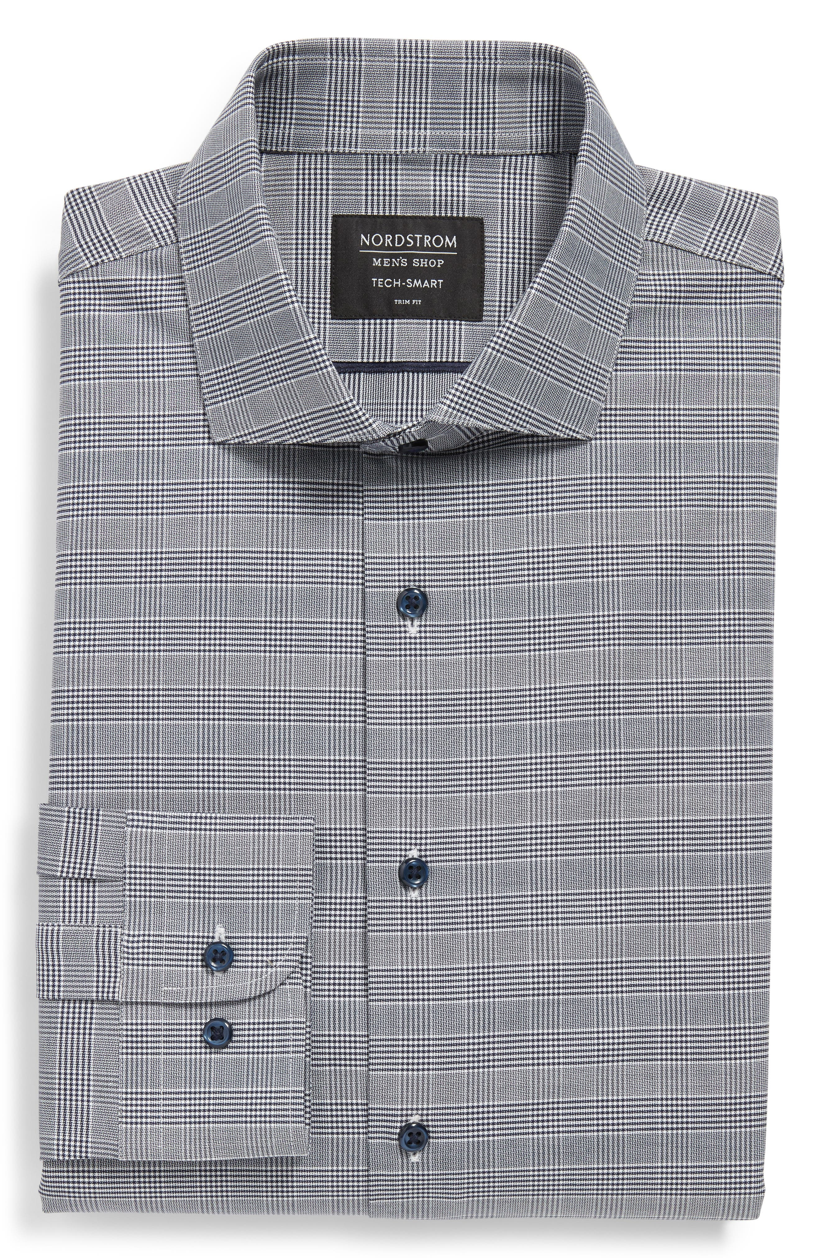 Tech-Smart Trim Fit Stretch Plaid Dress Shirt,                             Alternate thumbnail 5, color,                             NAVY PEACOAT