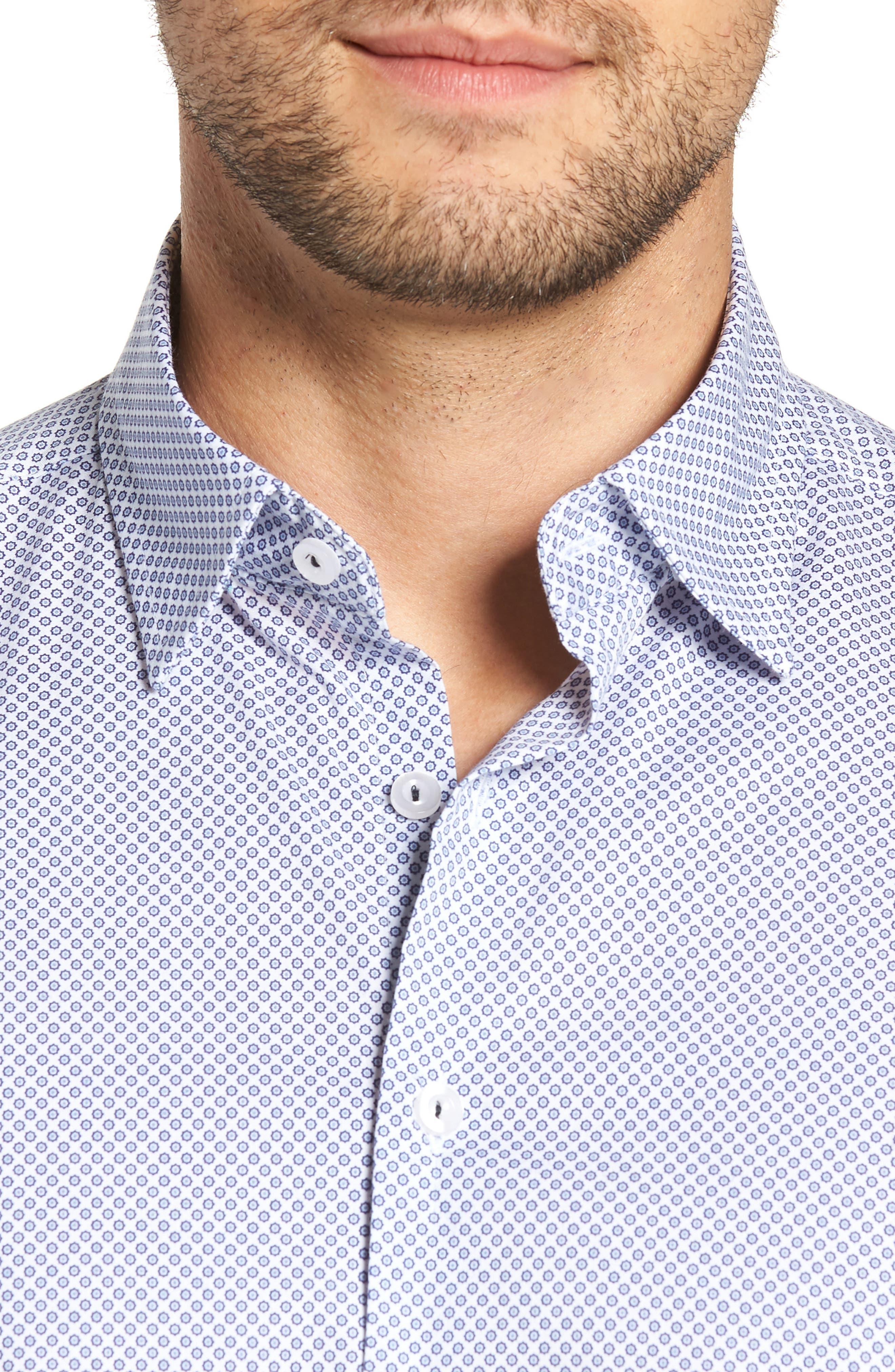 Regular Fit Geometric Print Sport Shirt,                             Alternate thumbnail 2, color,                             WHITE