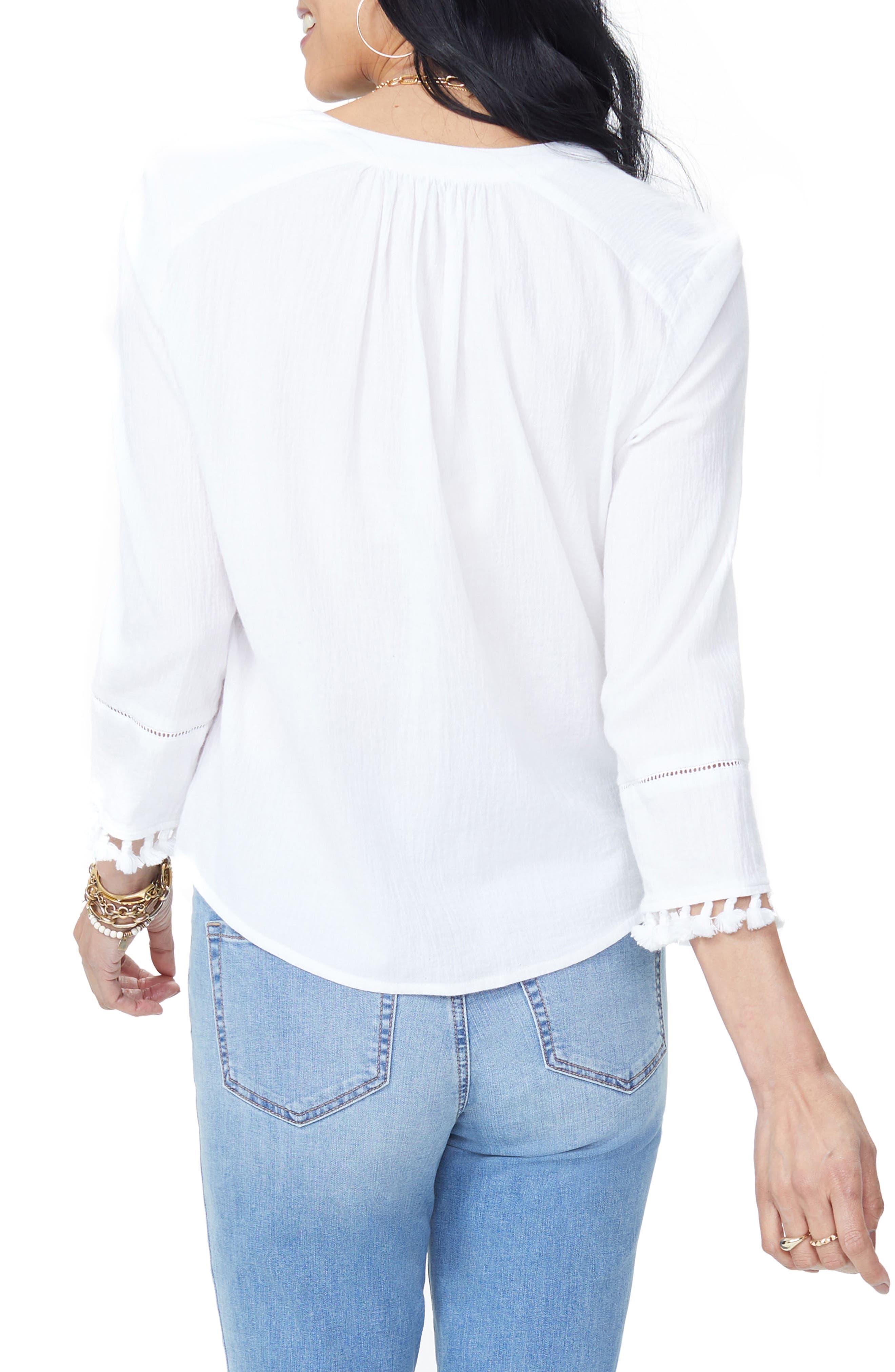 Tassel Sleeve Cotton Top,                             Alternate thumbnail 2, color,                             103
