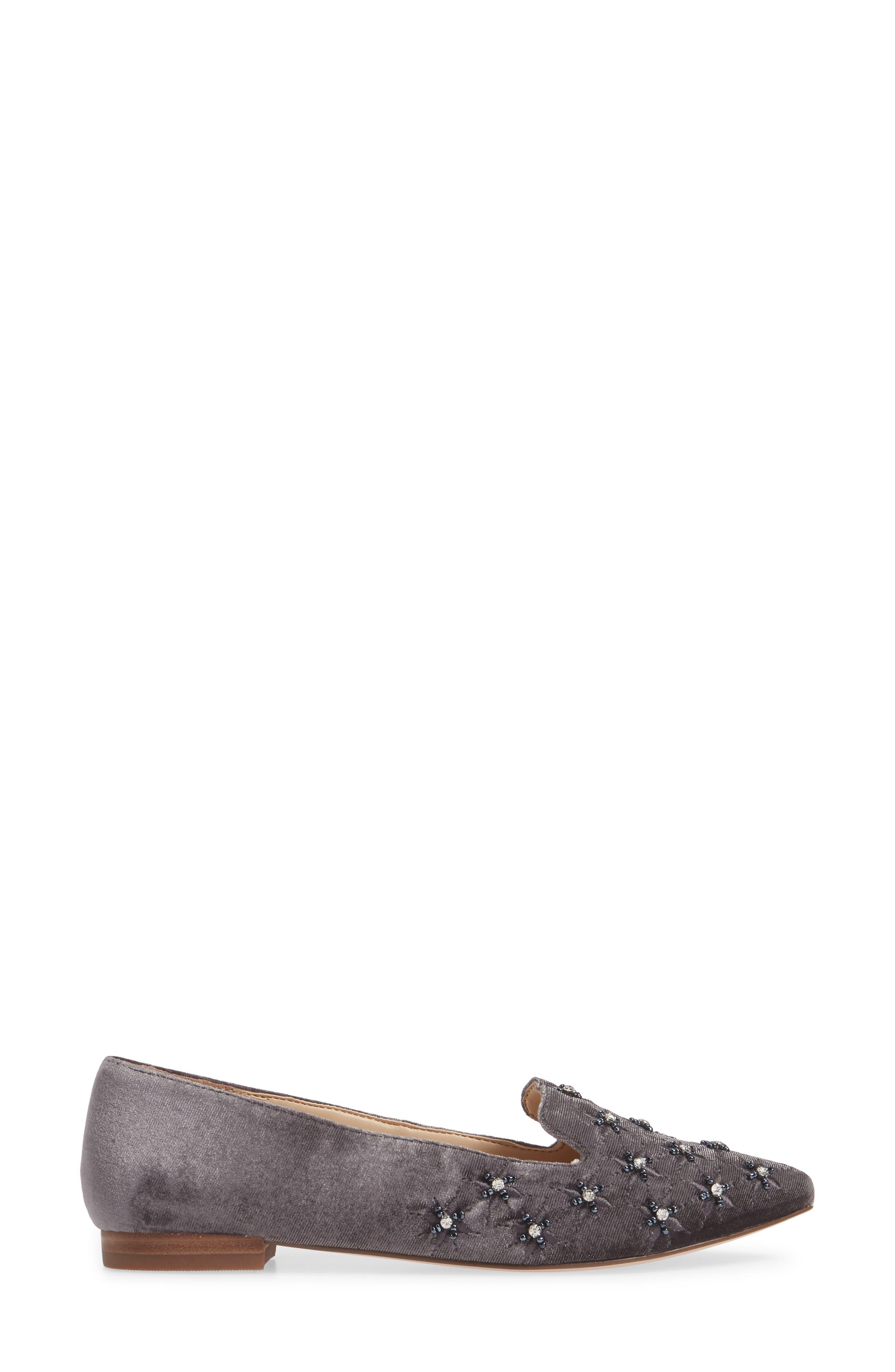 Letticah Crystal Embellished Loafer,                             Alternate thumbnail 3, color,                             SILVER ASH VELVET