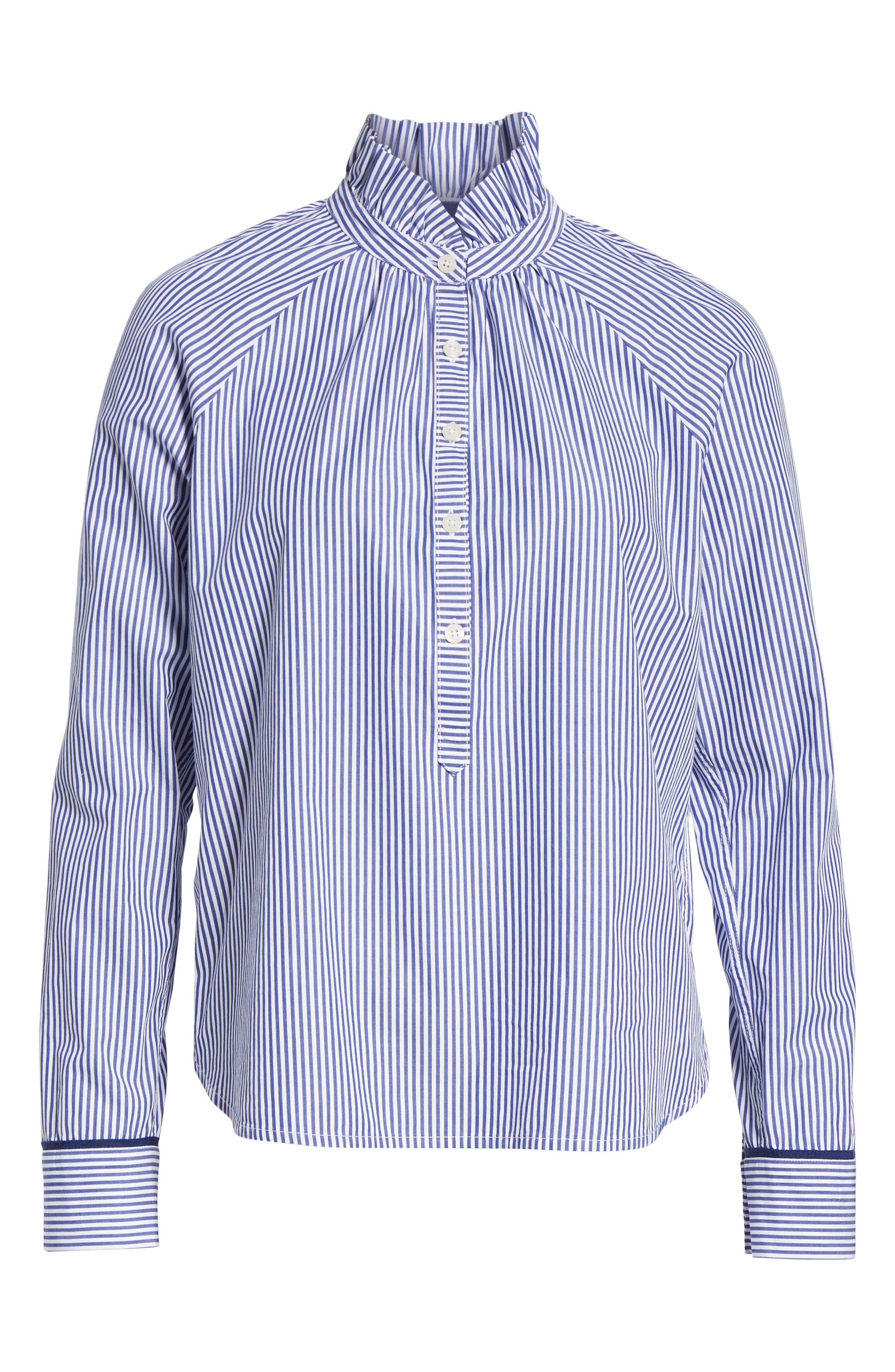 VINEYARD VINES,                             Stripe Ruffle Shirt,                             Alternate thumbnail 6, color,                             474