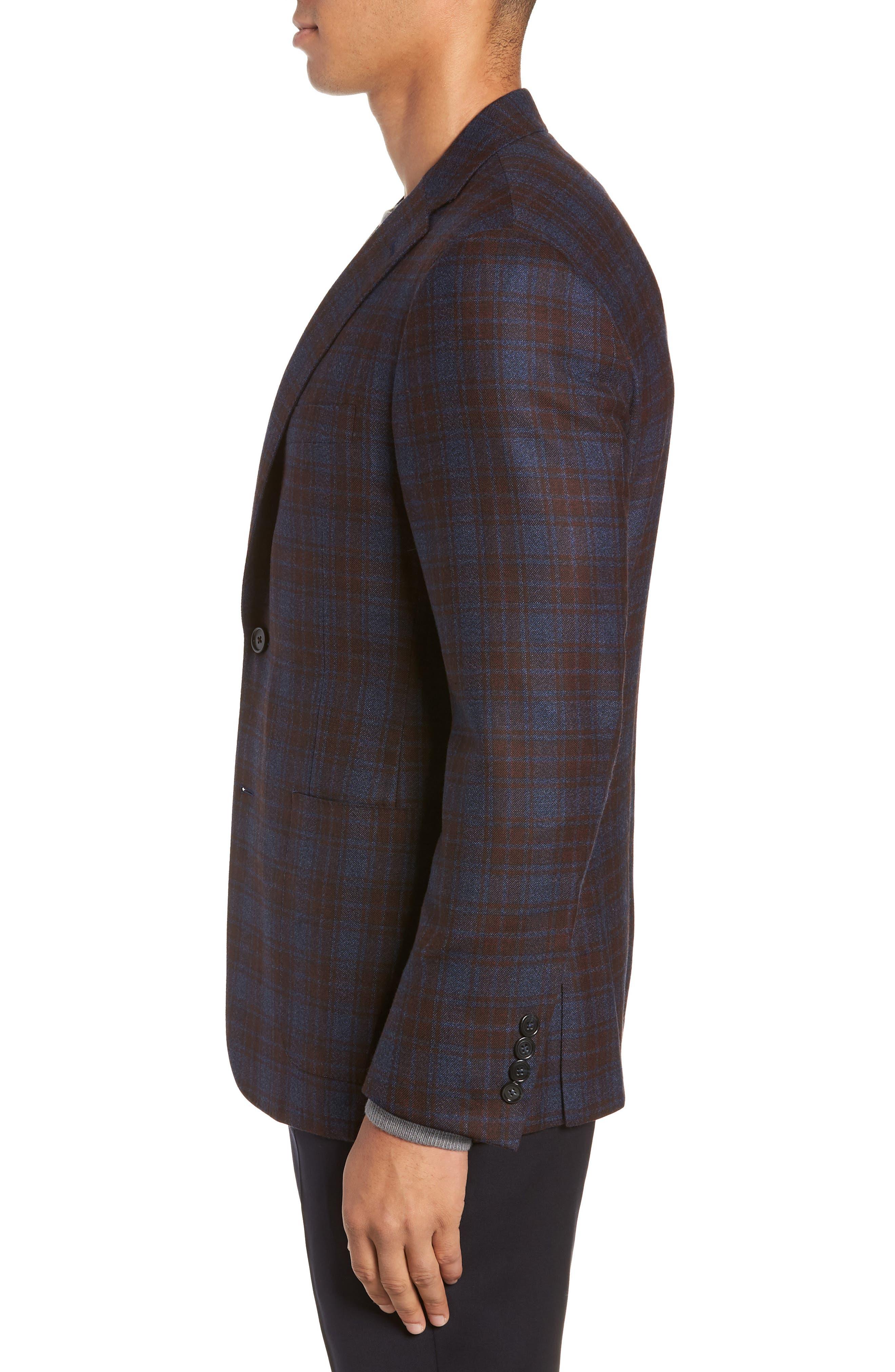 Classic Fit Plaid Wool Sport Coat,                             Alternate thumbnail 3, color,                             BLUE
