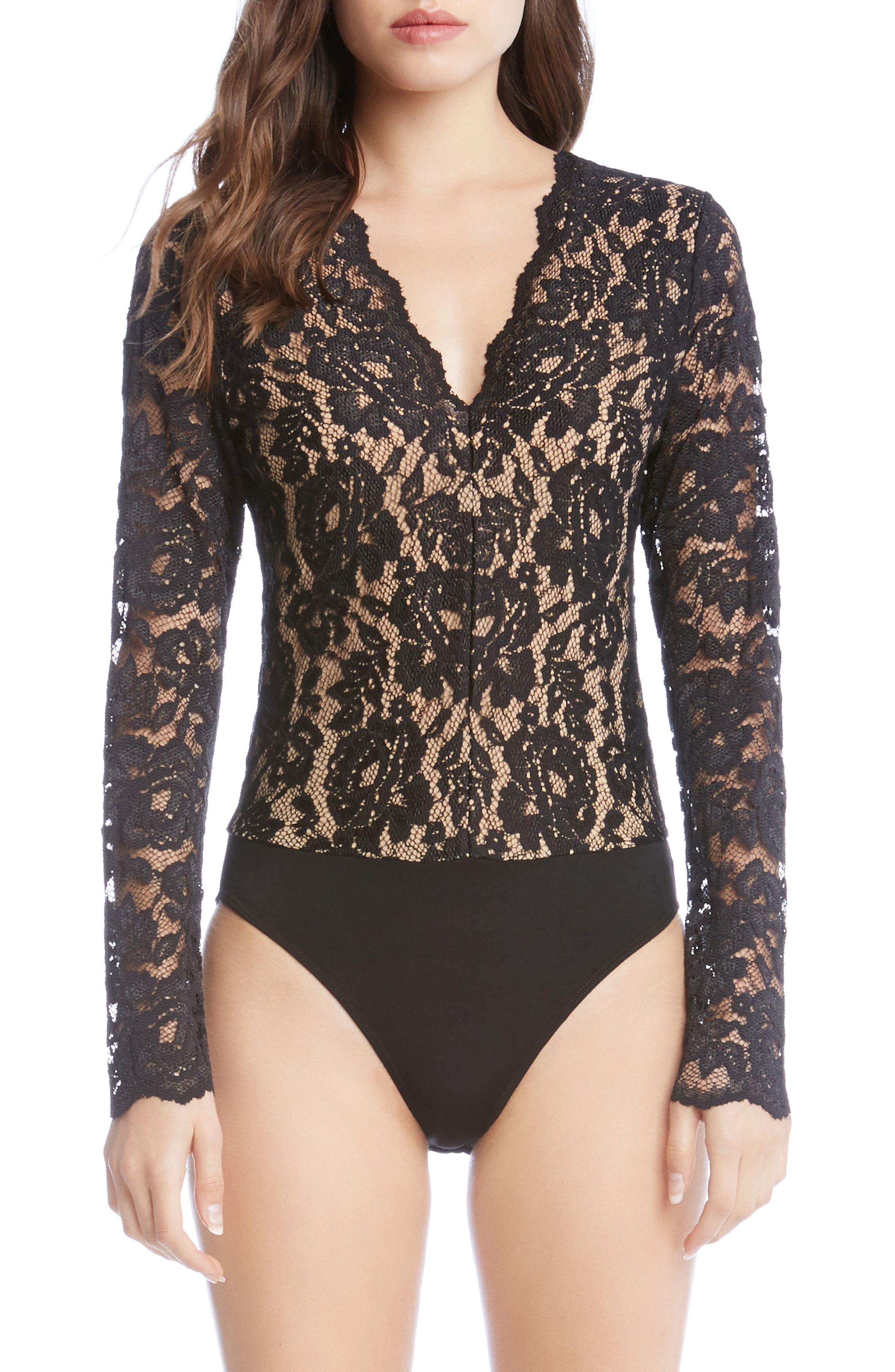 Scallop Lace Bodysuit,                             Alternate thumbnail 2, color,                             001