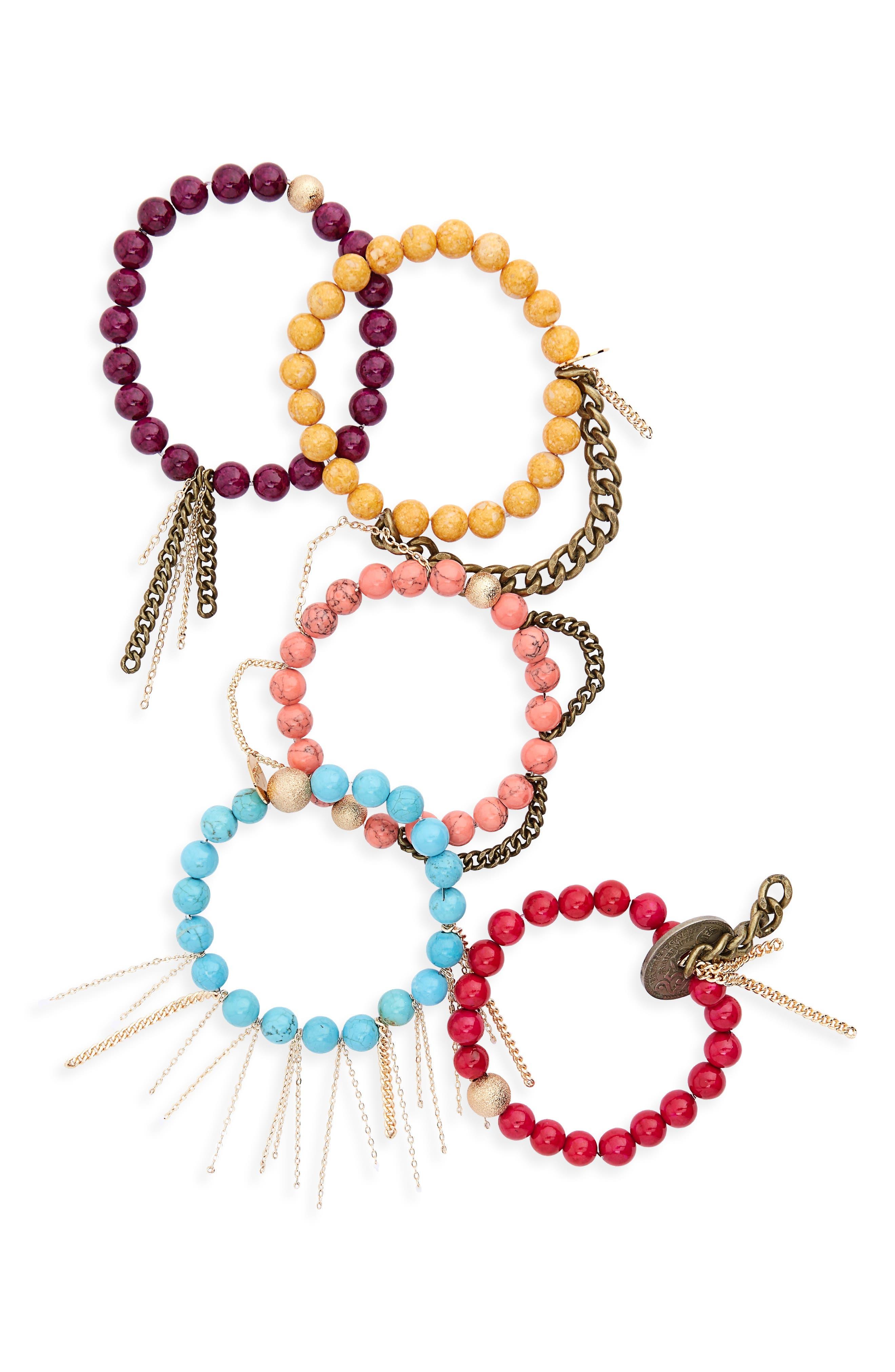 Set of 5 Beaded Bracelets,                             Main thumbnail 1, color,                             670
